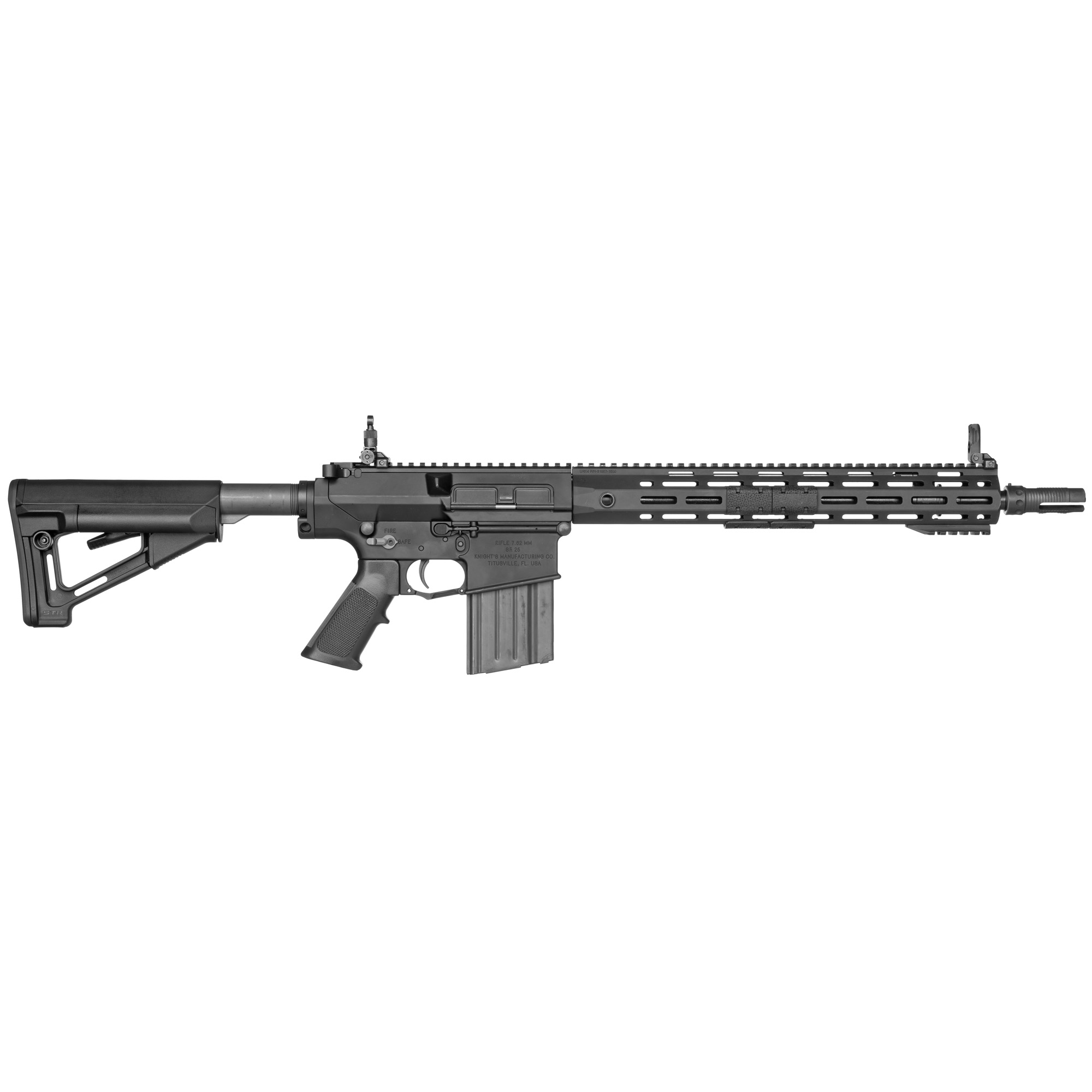 """The SR-25 E2 ACC is the latest evolution of the lightweight 7.62mm NATO Carbine. The ACC provides 7.62mm NATO performance in a package of comparable weight and size to common lower caliber platforms. Barrel and bolt life well exceed the expectation of a lightweight carbine. An ambidextrous bolt release"""" selector"""" and magazine release offer the left-handed user the ergonomic advantages inherent to AR15 based controls."""
