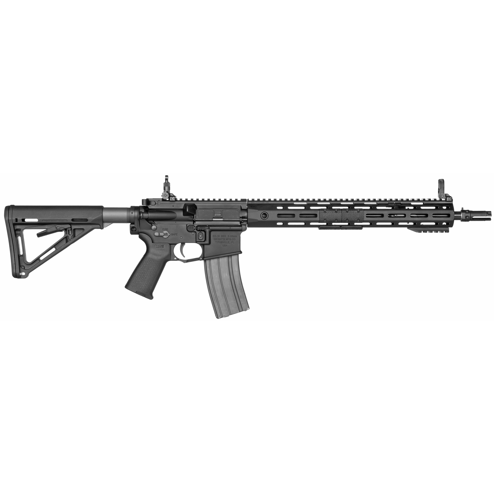 """The SR-15 E3 Mod 2 series 5.56 mm NATO barrel is manufactured for military grade durability"""" and is free-floated inside a URX4 M-LOK handguard. An improved E3 round-lug bolt design both enhances function and increases bolt life far beyond the industry standard. The ambidextrous bolt release"""" selector lever"""" and magazine release offers left-handed users the ergonomic advantages inherent to AR15-based controls."""