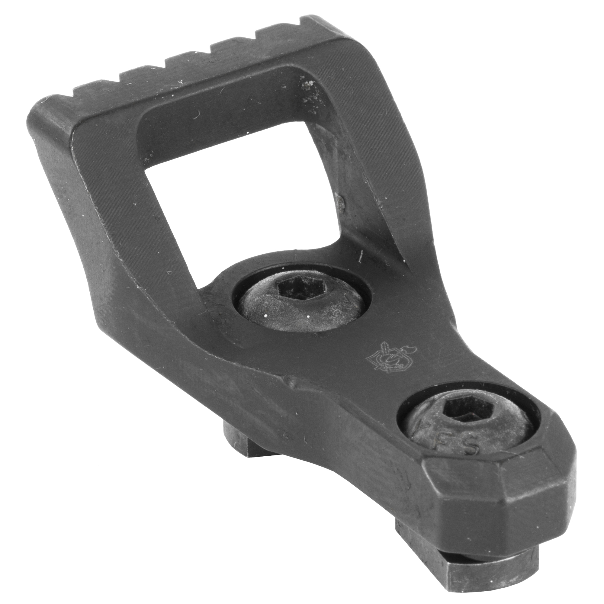 """Knights Armament Co.'s M-LOK Skeletonized Barrier Stop assembly eliminates all unnecessary weight while still being robust enough for hard-use. An aggressively serrated front edge will find grip on most surfaces"""" at any angle of contact. A sling can be attached directly to the Barrier Stop to eliminate the need for additional sling mounting points."""
