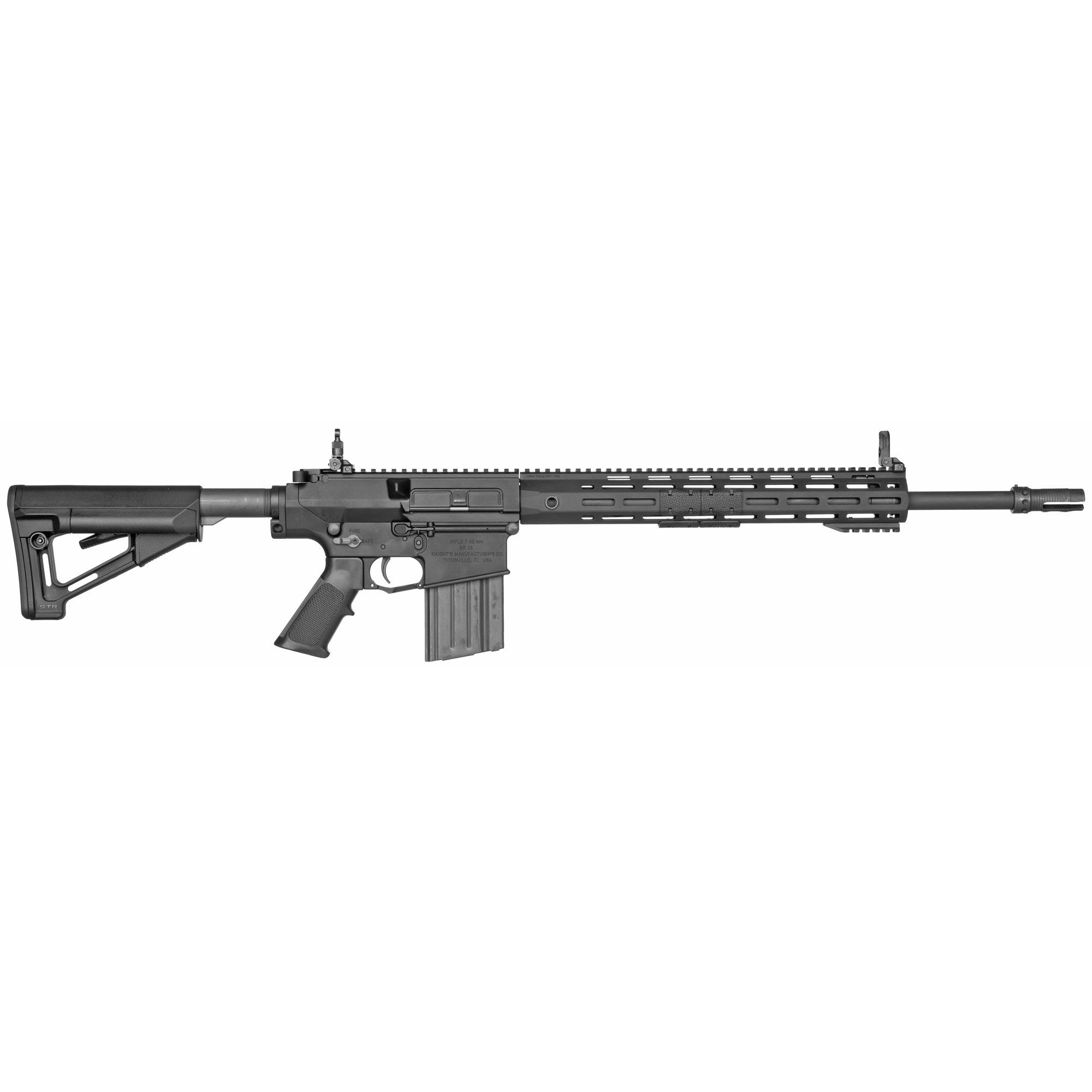 """The SR-25 E2 series of rifles is the end result of decades of improvement and refinement to the AR-10 type rifle. While each model is oriented to an application"""" they all share high reliability"""" long critical part life and intuitive ambidextrous controls. Tested to and validated by the harshest combat conditions"""" they prove to perform as required. Barrel and bolt life are significantly increased"""" reducing the need for part replacement and extending maintenance cycles. An ambidextrous bolt release"""" selector and magazine release offer the left-handed user the ergonomic advantages inherent to AR-15 based controls"""