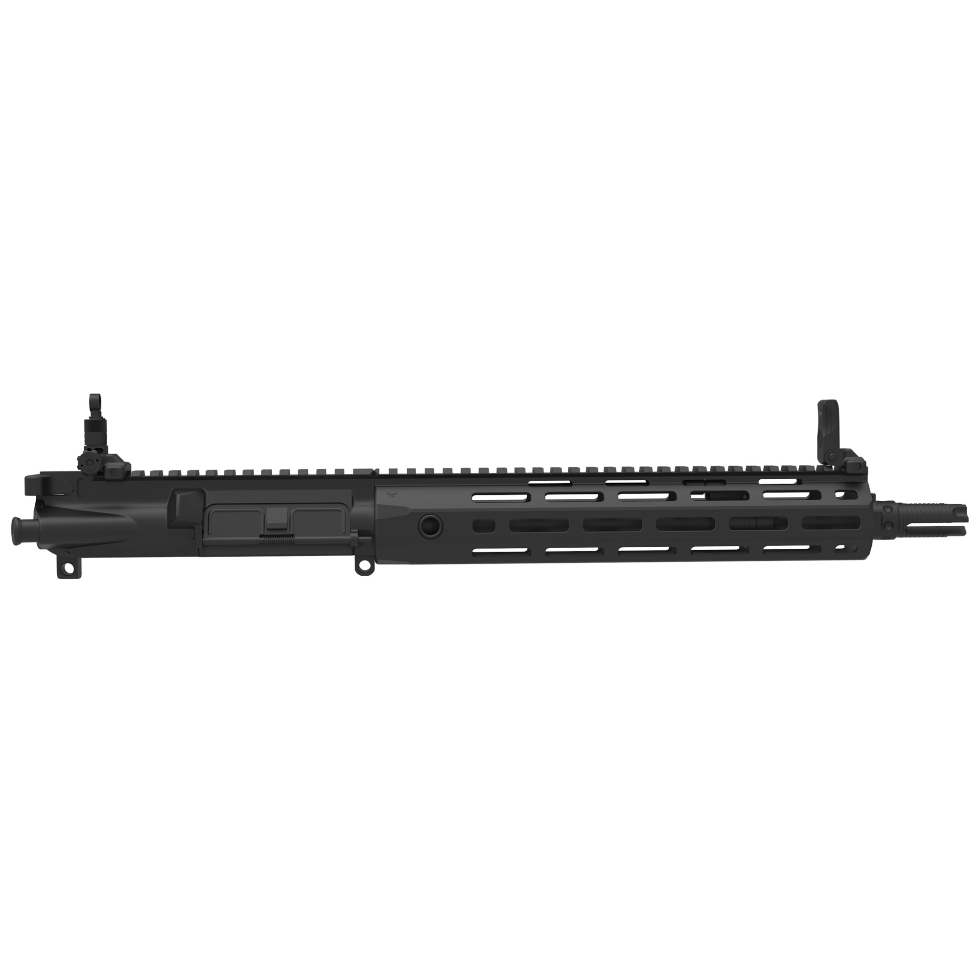 """The SR-15 E3 Mod 2 series' 5.56 mm NATO barrel is manufactured for military grade durability"""" and is free-floated inside a URX4 M-LOK handguard. An improved E3 round-lug bolt design both enhances function and increases bolt life far beyond the industry standard. The 5.56 mm 3-Prong Flash Eliminator interferes with propellant gas combustion forward of the muzzle to significantly reduce flash signature"""" will not ring upon firing or when struck"""" and is compatible with the Knight's line of 5.56 mm QDC Signature Reduction Devices."""