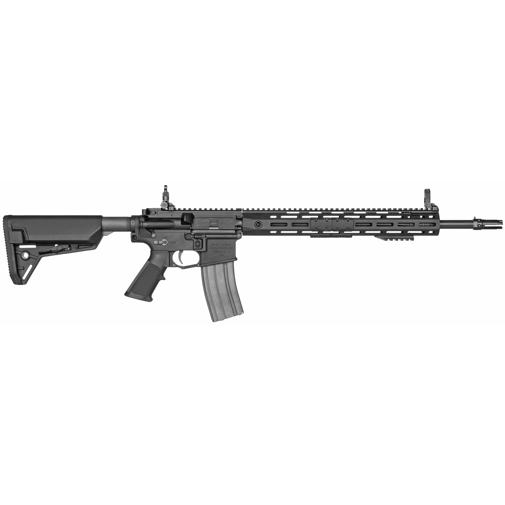 """The Knight's SR-15 Light Precision Rifle Mod 2 is the answer for 5.56mm shooters who want a lightweight match weapon system. The LPR utilizes an 18"""" Match Grade Stainless Steel barrel with a Custom Match chamber and 556QDC Flash Eliminator. Additional features include a URX 4 handguard with M-LOK mounting points"""" Mod 2 Gas System"""" standard ambidextrous lower receiver and 200m-600m adjustable micro sights."""