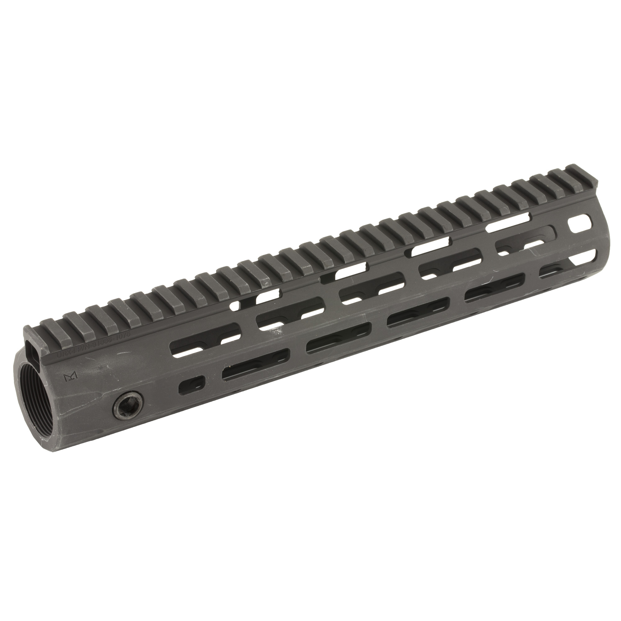 """Knights Armament Co.'s URX 4 10.75"""" M-LOK Forend Assembly Kit is a fully modular design that utilizes the revolutionary M-LOK accessory mounting system. The URX 4 Rail is stronger and more stable than previous URX designs due to its one-piece construction. It is also lighter due to its Integral Barrel Nut (IBN) system of attachment. The IBN system allows the rail itself to act as the barrel nut when torqued onto the rifle"""" completely eliminating the need for a separate steel barrel nut. M-LOK accessories may be mounted anywhere along the URX 4's length"""" making it one of the most user configurable designs on the market."""