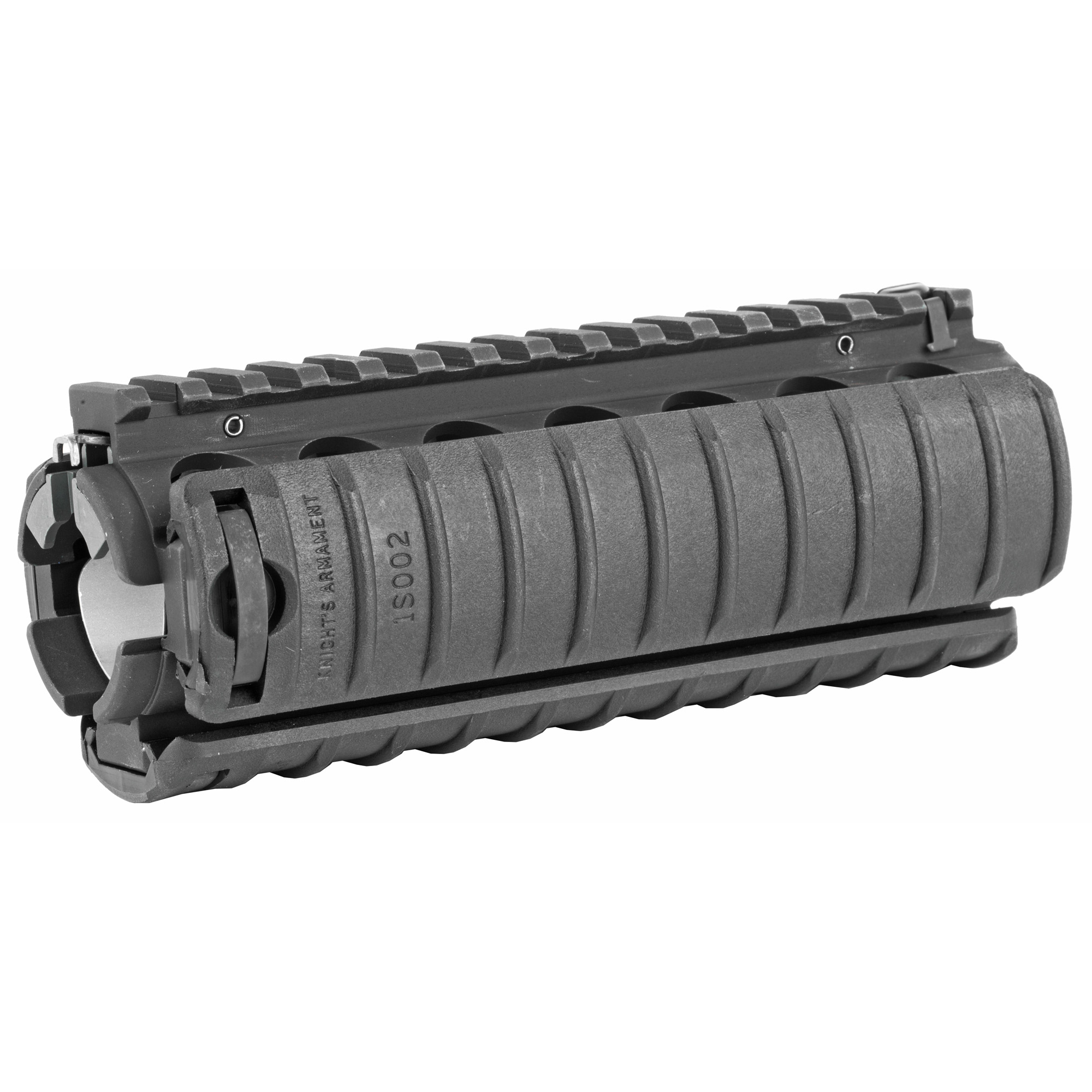 """Knights Armament Co.'s M4 RAS 6.25"""" (Rail Adapter System) was developed for use on the US military's M4 Carbine"""" and with over 1 million rails issued to date"""" it is one of the most battle proven designs available for the AR-15 platform. This non-free float handguard is a simple-to-install"""" drop-in upgrade that features genuine Mil-Spec M1913 Picatinny Rails along its entire length. What sets the M4 RAS apart from other 2-piece quad rails on the market is that it securely locks to the rifle's barrel nut via a clamp and screw arrangement"""" making it a very solid foundation upon which to mount tactical accessories. Includes three KAC 11 Rib Rail Panels. The M4 RAS is a drop-in replacement part for standard"""" 2-piece polymer"""" M4-type handguards. The rifle must have a carbine length gas system"""" delta ring assembly"""" fixed front sight/gas block"""" and round handguard end cap. Lighter barrel profiles work best (M4 or Government contours). Heavier barrel contours may require modification to the inside of the rail. For AR-15/SR-15 based platforms only; not compatible with SR-25 variants. Installation instructions are included. Aluminum black finish."""