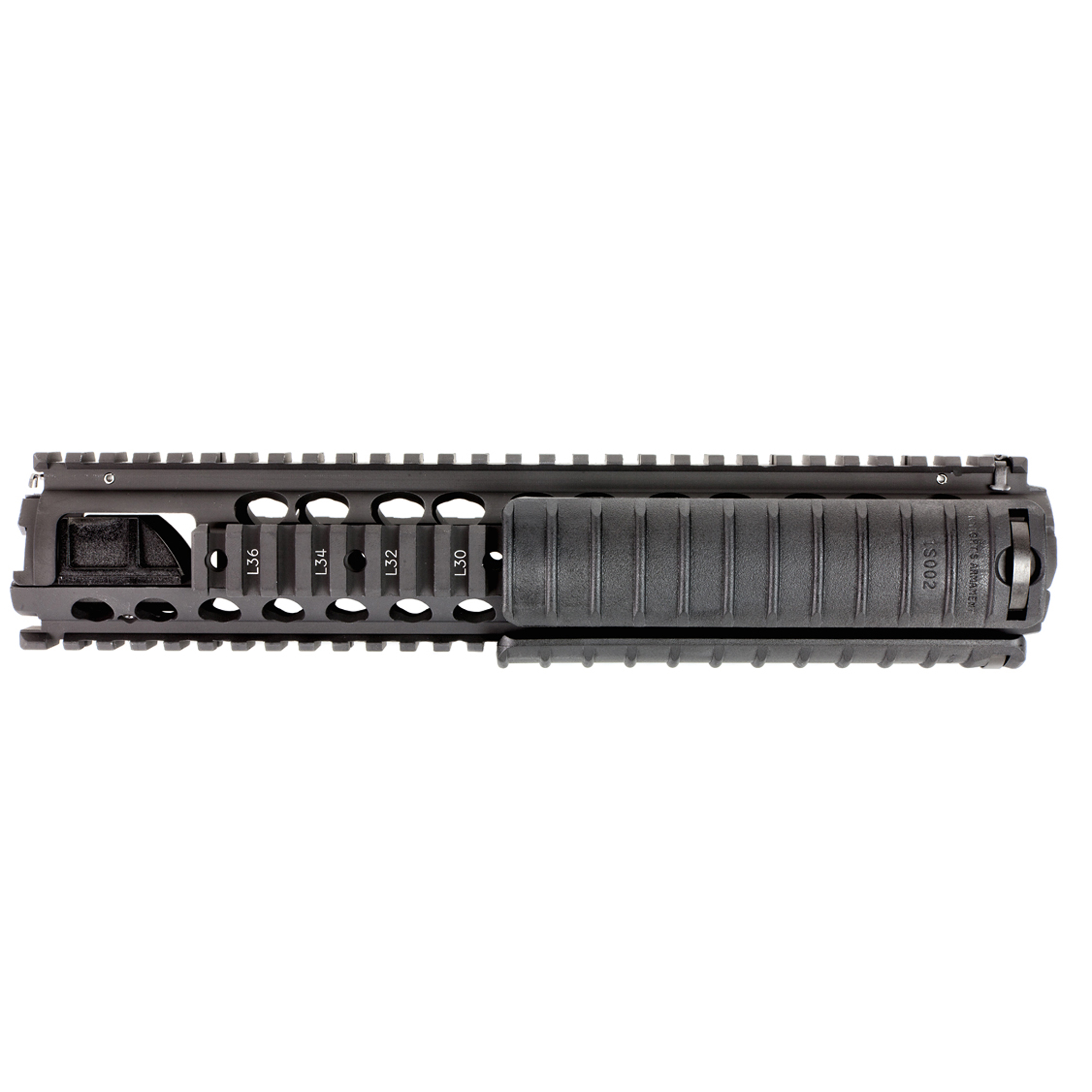 """Knights Armament Co.'s M5 RAS 11.5"""" (Rail Adapter System) was developed for use on the US military's M16A4"""" and with hundreds of thousands of rails issued to date"""" it is one of the most battle proven designs available for the AR-15 platform. This non-free float handguard is a simple-to-install"""" drop-in upgrade that features genuine Mil-Spec M1913 Picatinny Rails along its entire length. What sets the M5 RAS apart from other 2-piece quad rails on the market is that it securely locks to the rifle's barrel nut via a clamp and screw arrangement"""" making it a very solid foundation upon which to mount tactical accessories. Includes three KAC 11 Rib Rail Panels. The M5 RAS is a drop-in replacement part for standard"""" 2-piece polymer"""" A2-type handguards. The rifle must have a rifle length gas system"""" delta ring assembly"""" fixed front sight/gas block"""" and either a round or triangular handguard end cap. Lighter barrel profiles work best (Government contours). Heavier barrel contours may require modification to the inside of the rail. For AR-15/SR-15 based platforms only; not compatible with SR-25 variants. Installation instructions are included. Aluminum black finish."""