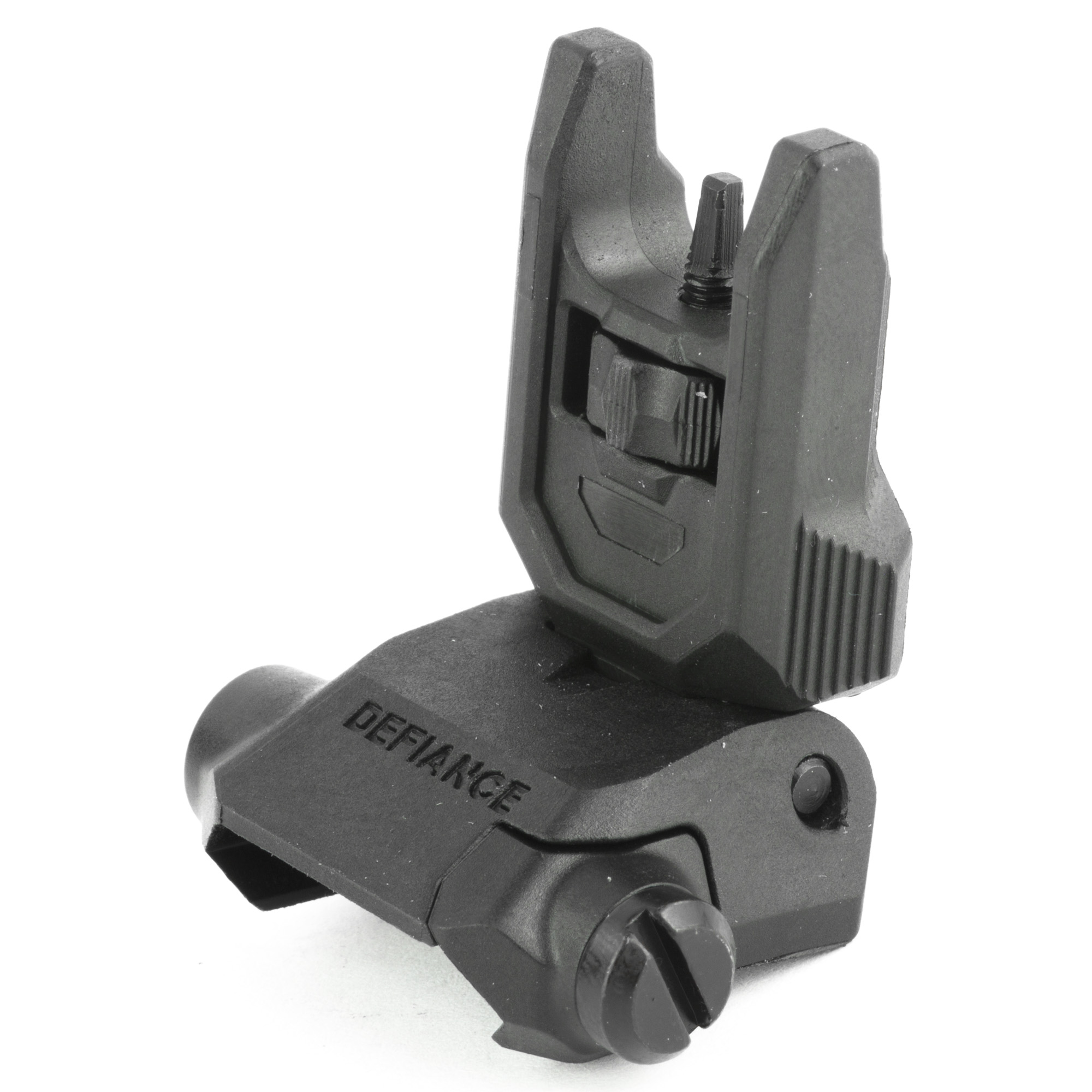 """Kriss USA Low Profile flip up front sight is the same OEM front flip sight that come standard with the Kriss Vector and DMK22 firearm platforms. The sight provides you with an extremely low profile front sight which will tuck completely out of the way when folded resting at a slim .50"""" when folded down in the stowed position. This particular front sight has a wide range of elevation adjustment which will accommodate a large spectrum of firearms"""" height over bores conditions and calibers. A large textured adjustment knob makes elevation changes simple and easy especially if you are operating with a gloved hand."""