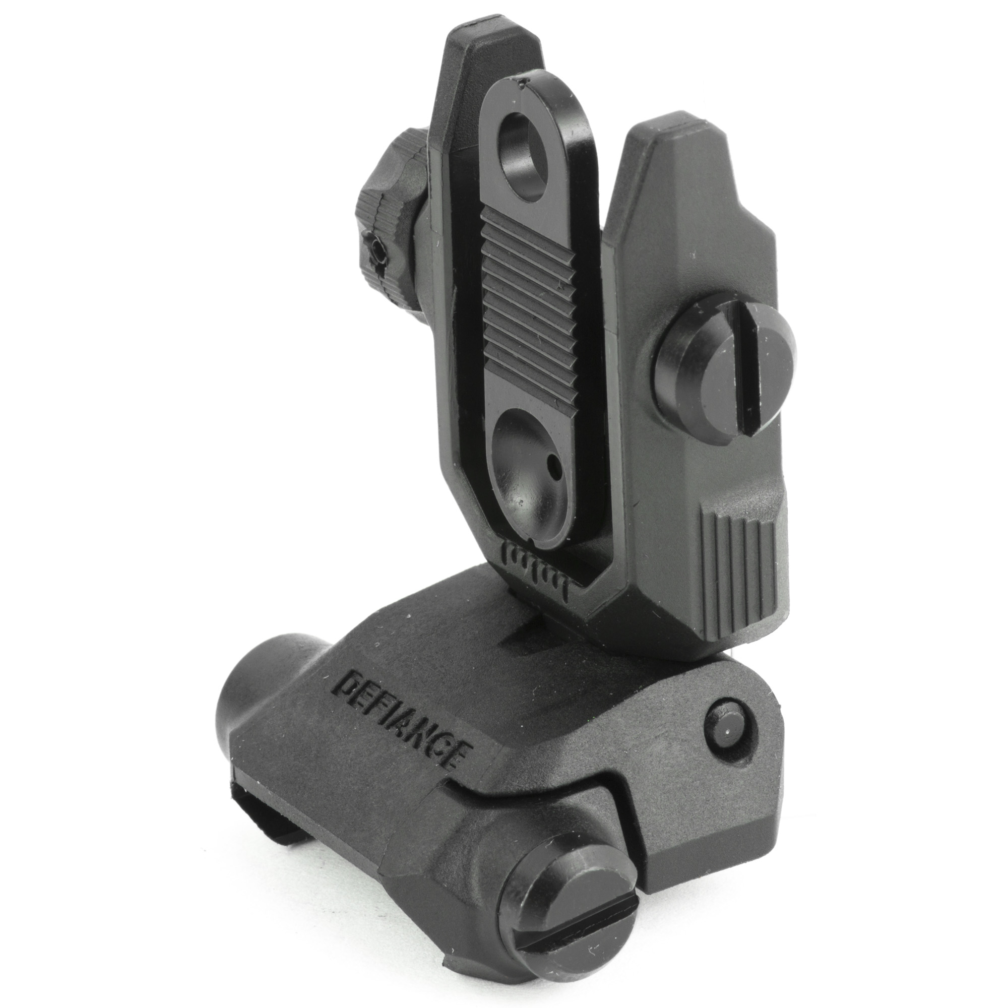 """Kriss USA Low Profile flip up rear sight is the same OEM rear flip up sight that come standard with the Kriss Vector and DKM22 firearm platforms. The sight provides you with an extremely low profile rear sight which will tuck completely out of the way when folded resting at a slim .56"""" when folded down in the stowed position. This particular rear sight has dual apertures and a wide range of Windage adjustment. The large textured adjustment knob makes windage changes simple and easy especially if you are operating with a gloved hand."""