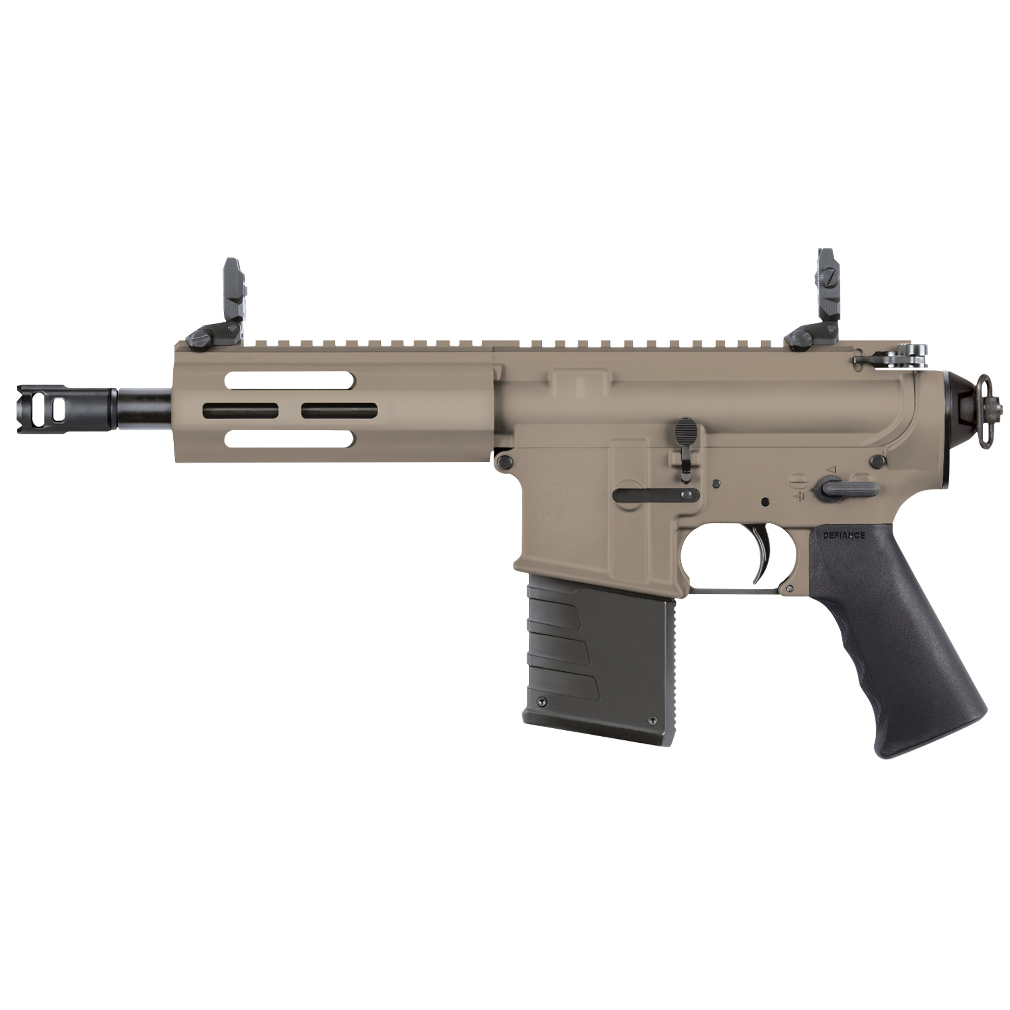 """The Kriss DMK22 Pistol features forged 7075-T6 aluminum receivers"""" a pistol Grip"""" QD rear sling swivel"""" low profile flip up sights"""" bolt lock"""" forward assist"""" and full size dust cover. It is compatible with most MIL-SPEC AR-15 trigger kits and charging handles."""
