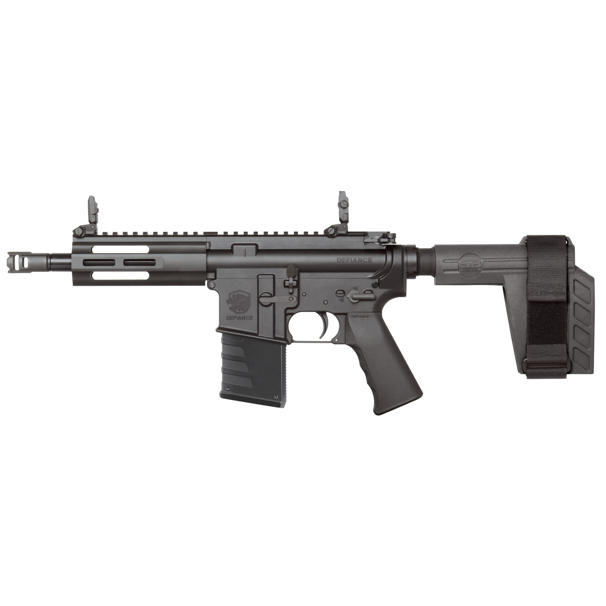 """The Kriss DMK22P-SB features forged 7075-T6 aluminum receivers"""" the SB Tactical SBX-K Stabilizing Arm Brace"""" a pistol Grip"""" QD rear sling swivel"""" low profile flip up sights"""" bolt lock"""" forward assist"""" and full size dust cover. It is compatible with most MIL-SPEC AR-15 trigger kits and charging handles."""