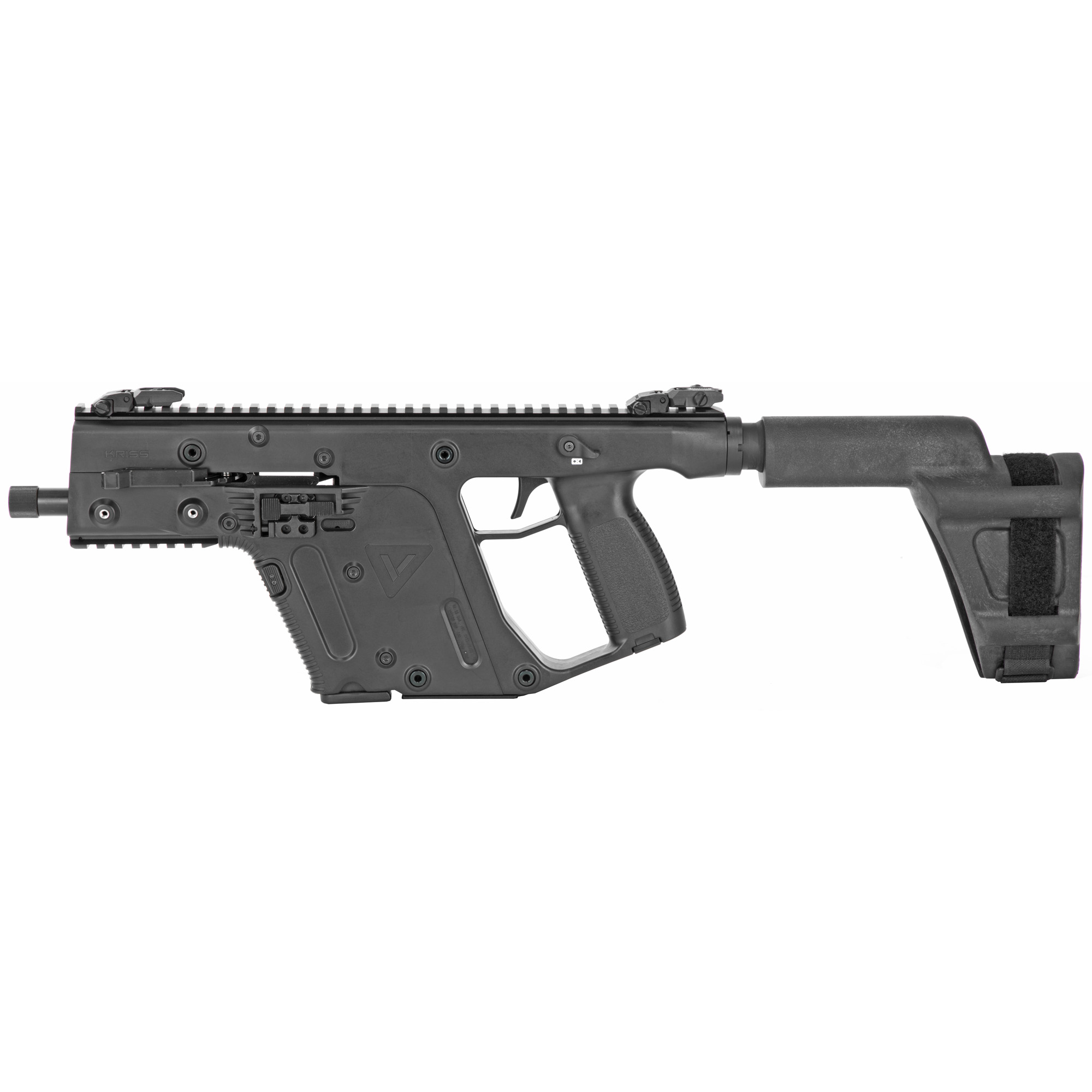 """The KRISS Super V Recoil Mitigation System uses an innovative nonlinear operating system that revectors energy down and away from the shooter's shoulder to dramatically reduce felt recoil and muzzle climb. This system allows the shooter to recover faster"""" for quicker and more accurate sequential shots. The KRISS Vector is designed to use the reliable and ubiquitous standard Glock(TM) magazines."""