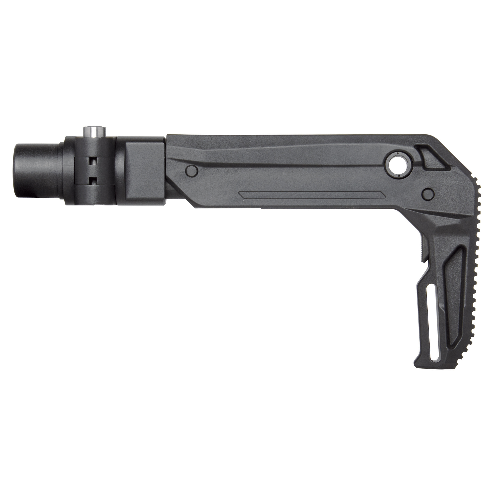 """KRISS USA's Vector Ambidextrous Folding Stock is designed for the Vector GEN II 2017. The stock is constructed of steel"""" aluminum"""" and advanced polymer composites. The KRISS Vector Ambidextrous Folding Stock secures to the upper receiver with a push button hinge that will fold to the right"""" this hinge can also be configured to fold to the left. The stock features two QD sling swivel mounts on the left and right side"""" as well as a sling loop towards the rear. In addition to folding"""" this stock is also telescopic"""" adjusting to three positions. This item is classified as a stock and will convert a Vector SDP (pistol) into a Short Barreled Rifle. This stock is only compatible with the KRISS Vector GEN II 2017 Upper Receiver."""
