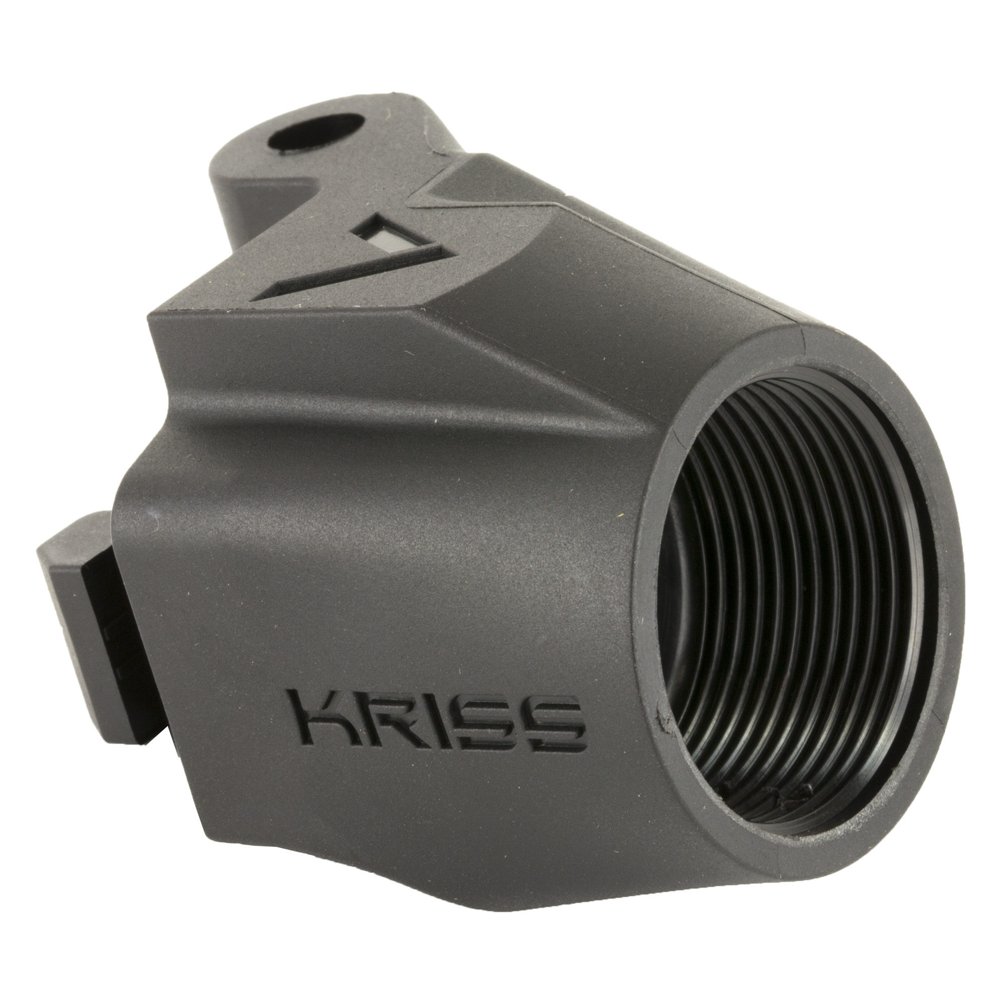 """KRISS USA's Vector M4 Stock Adaptor opens up a new realm of possibilities to customize your KRISS GEN I or GEN II Vector. In place of the traditional Vector Stock"""" this threaded adaptor piece will accept any commercial or MILSPEC buffer tube for the addition of any stock of your preference. Buffer tube and pivot pin is not included."""