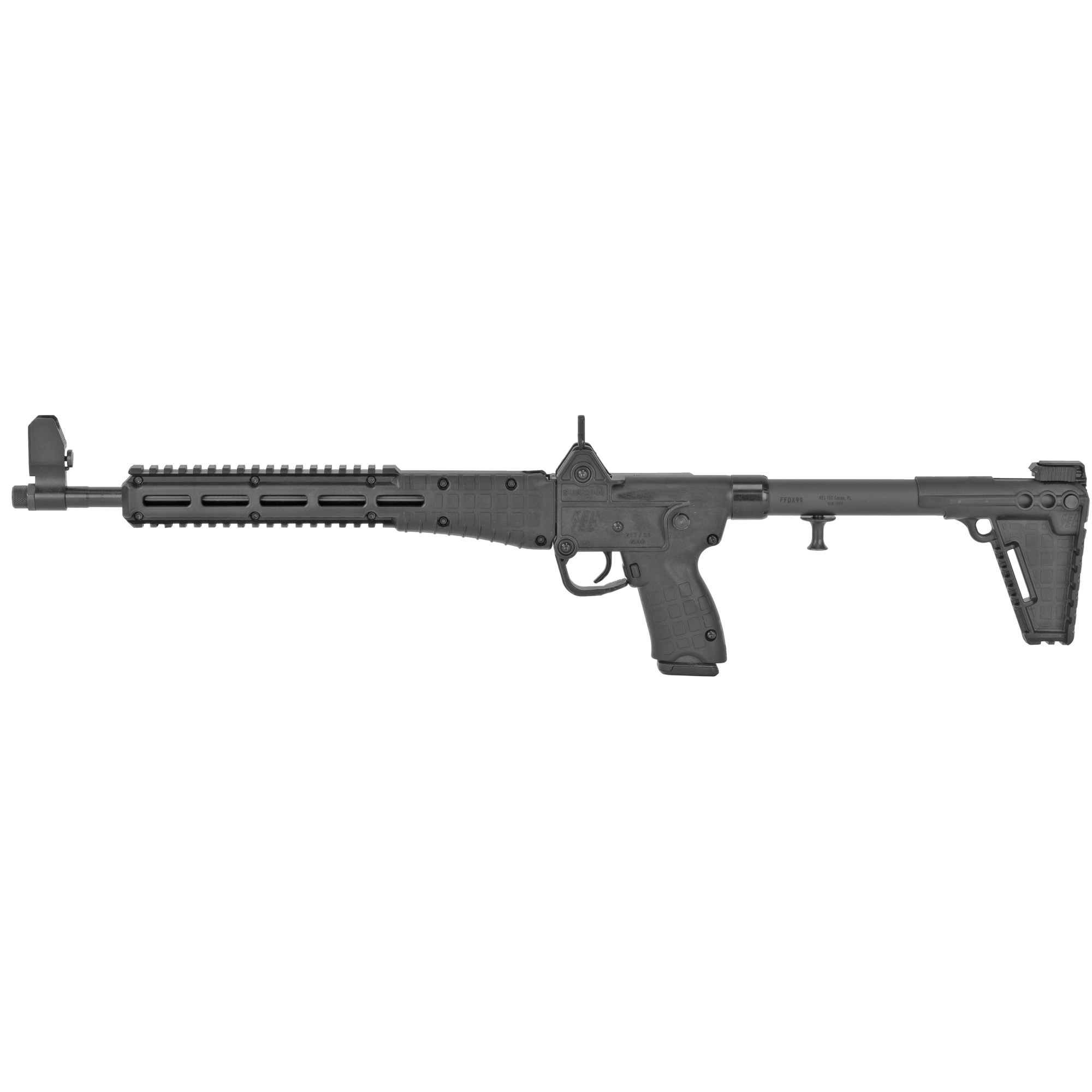The semi-automatic Sub-2000(TM) is designed to be the most convenient 9mm or .40 caliber rifle available. It's adjustable and foldable to 16.25 x 7 inches for easy storage and accepts popular handgun magazines. It can easily be disassembled for cleaning or inspection without tools. The Sub-2000 is Ideal for backpacking trips and situations where space and convenience are paramount.