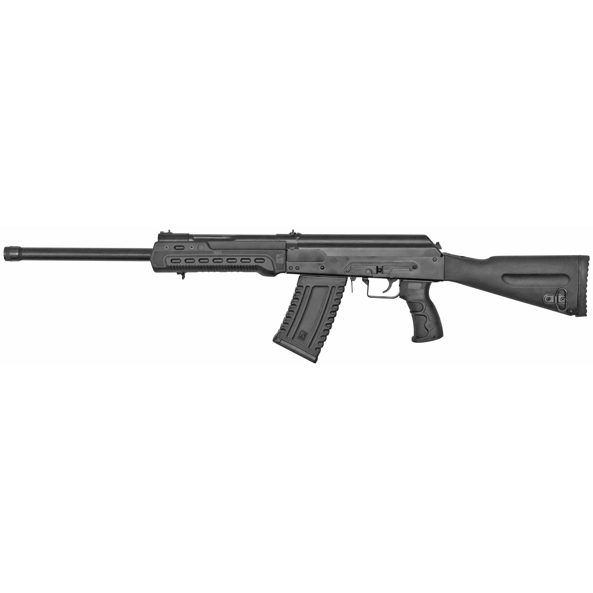 "The KS-12 is a US manufactured 12 GA semi-automatic shotgun based on the Russian Saiga series. It is designed to accept 2.75"" and 3"" shells and includes a 5 round magazine. The KS-12 has a standard side mounted optics rail"" a fixed buttstock and a standard pistol grip."