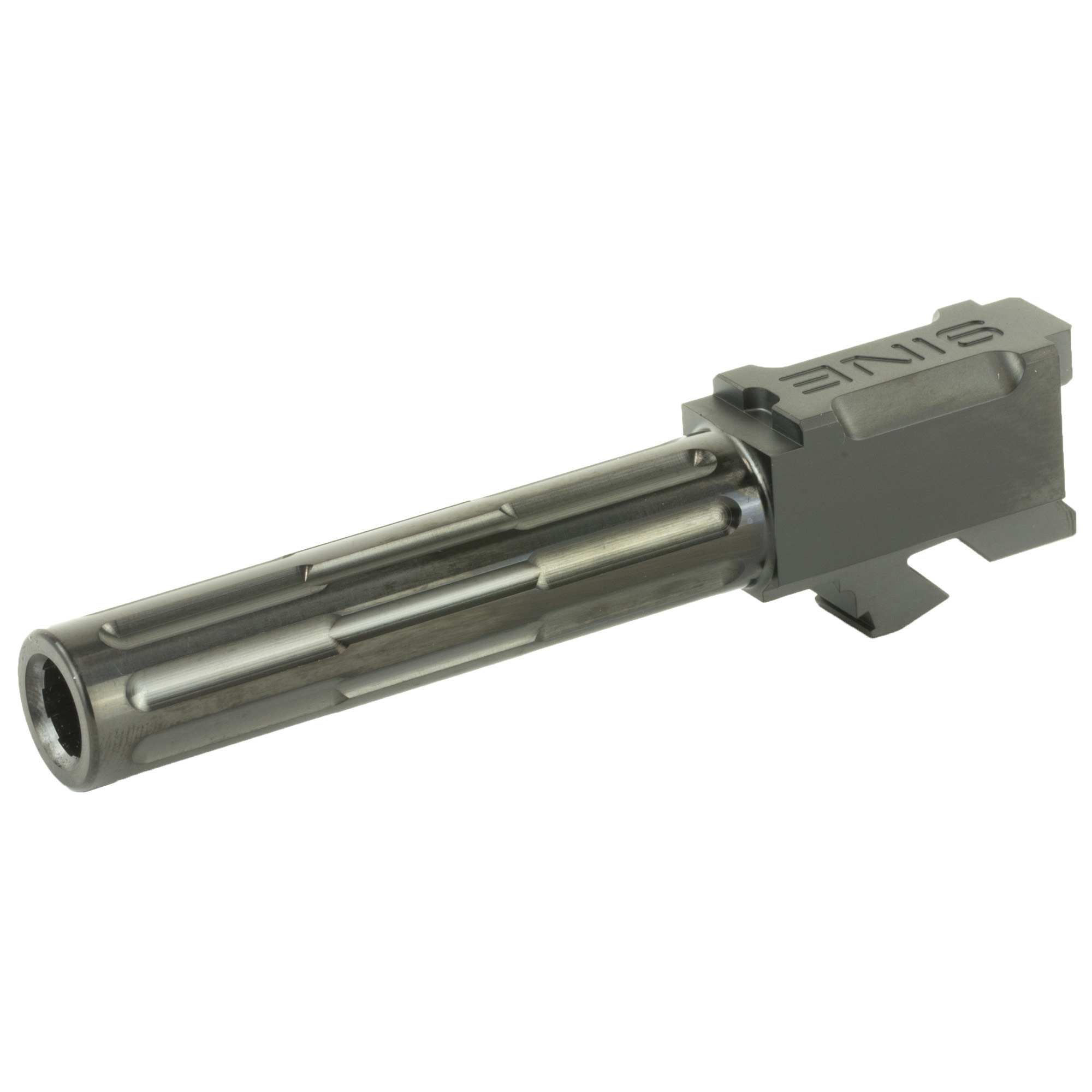 """Professional upgrade drop in barrels for Gen 3 & 4 Glock 19 Pistols. Match Grade barrels are precision machined from Certified pre hardened DFARS compliant 416R chromium gun barrel quality stainless steel"""" to extremely tight tolerances and exacting details. 416R stainless steel is renowned for its corrosion resistance"""" machinability and high tensile strength"""" it is the industry standard for Match Grade barrel manufacturing. Lantac's machining and production process delivers an ultra-precise barrel with tightened slide fit & lock up for improved accuracy. 6 groove"""" cut rifled"""" 1:10 Twist Right Hand"""" fully inspected"""" double honed (rough and finish) to produce a bore with a Max Roughness Average (RA) of 12. Chambers are Match Grade SAAMI specification"""" precision cut and polished to a maximum Roughness Average (RA) of 16. The pre hardened 416R stainless steel is stress relieved to a proprietary recipe after rifling and final hardness is 38-42 Rockwell C before final shaping and profiling work is done. Final dimension is held to a +/- 0.0002"""" deviation for maximum consistency"""" accuracy and quality. Barrels are bead blasted to create a satin finish prior to plating. 9INE Barrels are a drop in fit and do not require gunsmithing for assembly. These are an ultra accurate and extremely tough upgrade. Barrels are fluted and feature LANTAC's proprietary Patent Pending flute pattern."""