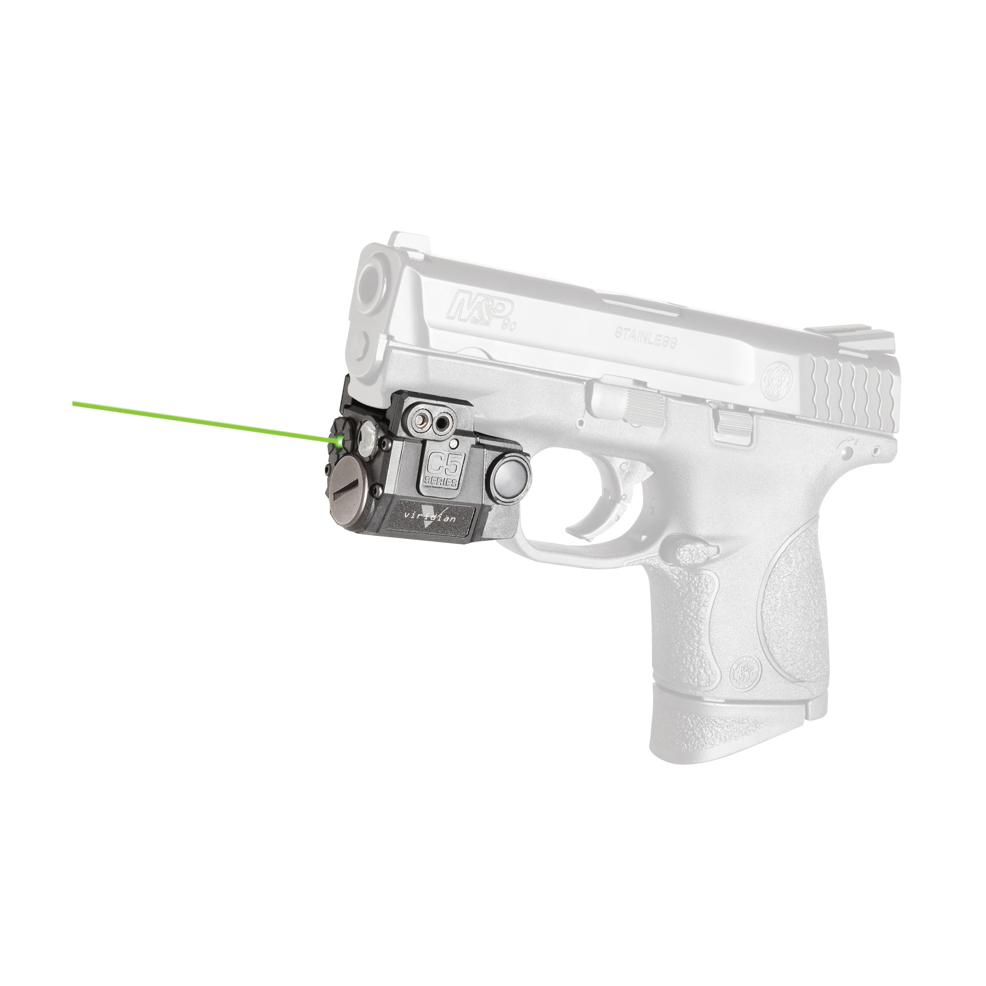 "The Viridian C5L green laser with tactical light is so tiny"" it tucks neatly between trigger guard and muzzle"" with no overhang"" and will work with virtually any railed gun. This C5L features a green laser (50 x brighter than traditional red) that is visible in day or night with multiple modes of operation and easy windage/elevation adjustment. Viridian's C5L is equipped with INSTANT-ON(R) activation. When paired with a TacLoc holster (sold separately)"" you can ignite your green laser and tactical light instantly when you draw your weapon. When you draw it's on. The C5L features a 100 lumen tactical light with CREE LED in constant and strobe modes. It comes standard with RADIANCE(R) taclight technology"" which expands light into a wider beam"" revealing over twice the horizontal area of conventional tactical lights. With no wasted light above or below your target area"" you get a better picture"" faster discovery"" smoother tracking and more positive targeting than any other weapon-mounted tool."
