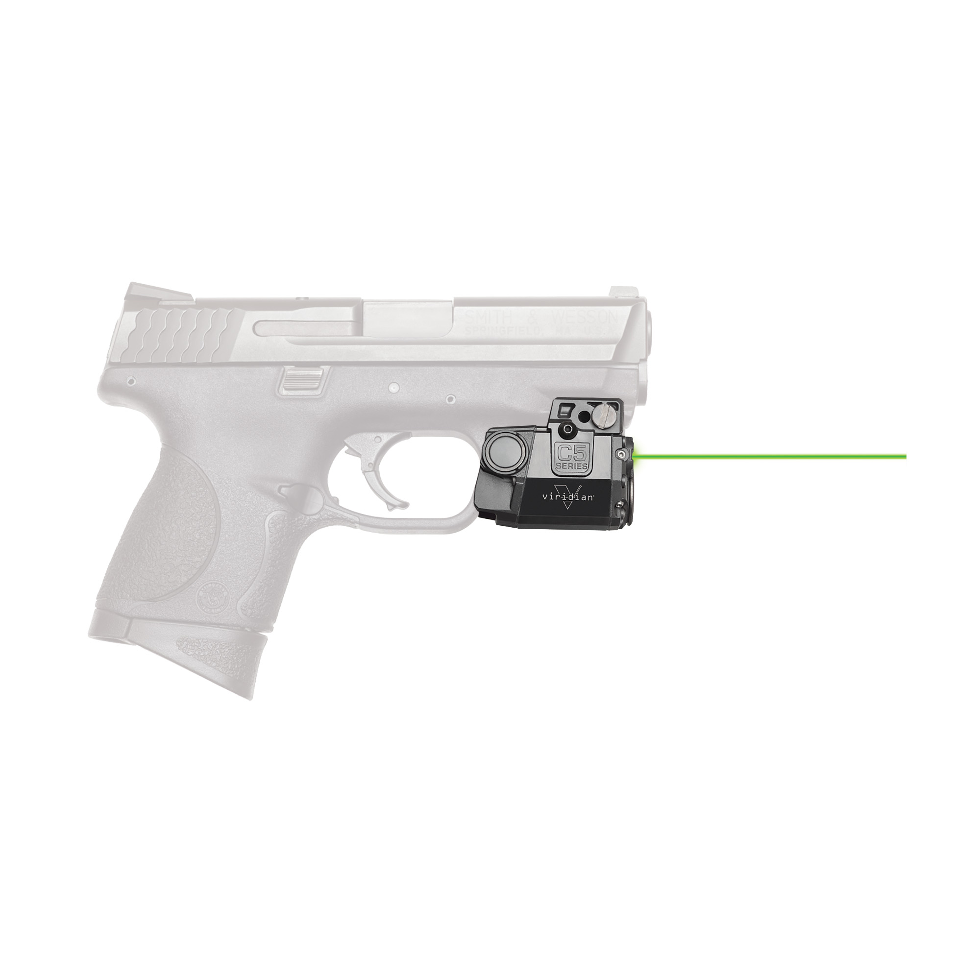 "The Viridian C5 green laser sight is so tiny"" it tucks neatly between trigger guard and muzzle"" with no overhang"" and will work with virtually any railed gun including subcompacts. This C5L features a green laser (50 x brighter than traditional red) that is visible in day or night with multiple modes of operation and easy windage/elevation adjustment. Viridian's C5 laser sight is equipped with INSTANT-ON(R) activation. When paired with a TacLoc holster (sold separately)"" you can ignite your green laser and tactical light instantly when you draw your weapon. When you draw it's on."