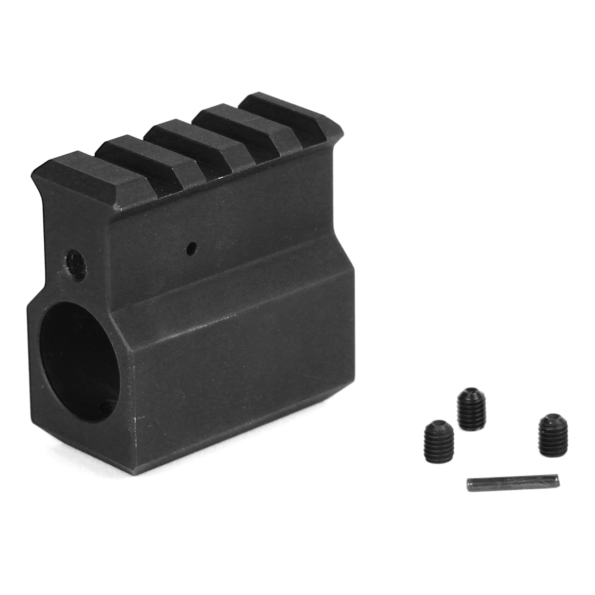 The LBE upper receiver height .750 gas block with rail includes three set screws and is made in the USA.