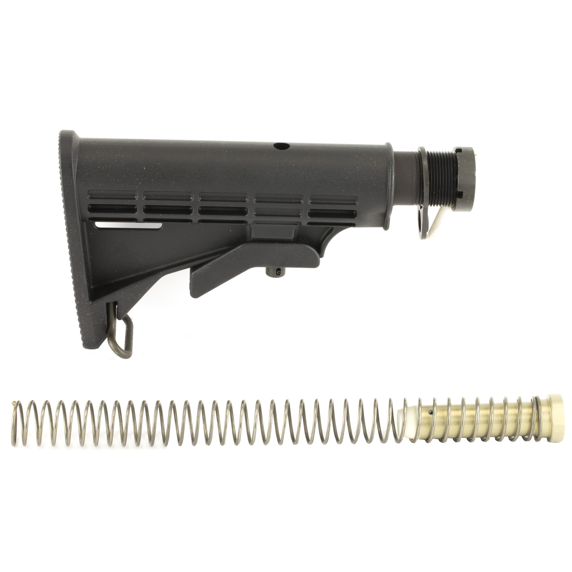 "This kit comes with everything you need to complete your lower receiver so you can install your collapsible stock. Included is your classic M4 style buttstock"" six position mil spec buffer tube"" carbine length recoil spring"" carbine length recoil buffer"" receiver end plate"" and castle nut. LBE Unlimited is a leading producer of US Made gun parts and accessories"