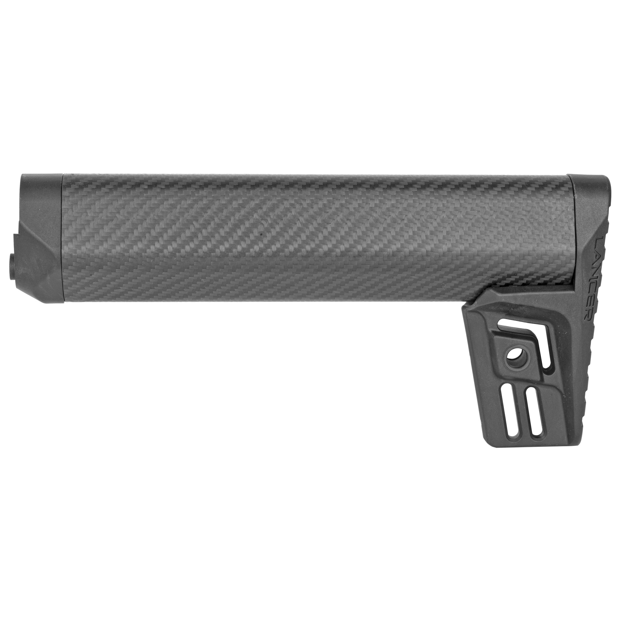"""The Lancer Round Carbon-Fiber Stock (LCS) is a lightweight fixed stock for 5.56mm and 7.62mm AR style rifles that use a fixed rifle length buffer tube. It is an A2-length of 10.8"""". The buffer tube is not included but the buttstock screw and spacer are included."""