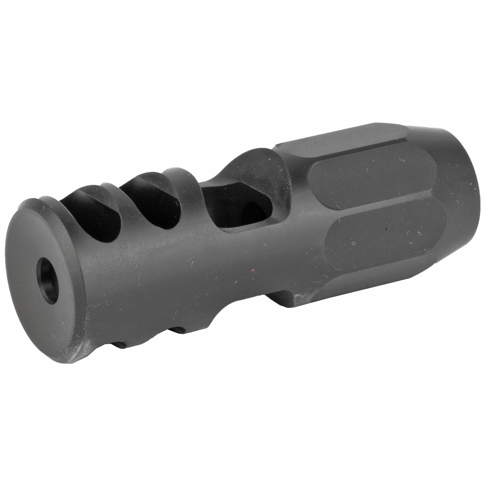 """The Lancer Nitrous compensator is a """"tunable"""" compensator. Engineered with a blast chamber and tunable jets"""" the Nitrous compensator will effectively reduce muzzle climb making for faster follow on shots. Angled blast baffles are incorporated to reduce recoil and further stabilize the rifle. The jets release gas from the blast chamber creating a downward force on the muzzle of the rifle. Different size jets are supplied with the compensator so the operator can customize the downward force"""" minimizing muzzle climb. Tuning is a simple matter of changing the combination of jets until the desired effect is achieved."""