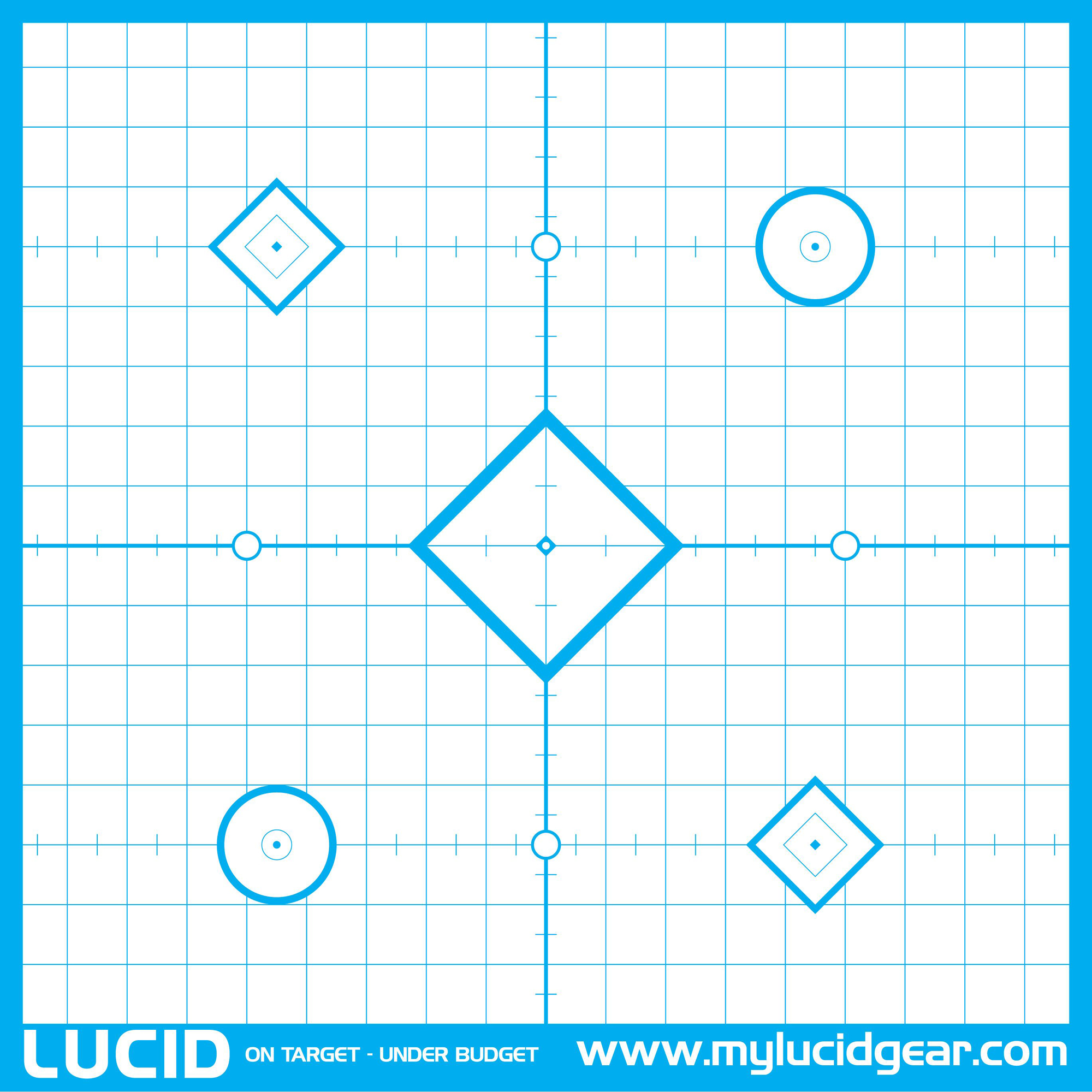 These targets are made with a high quality paper and an easy to see Cyan color. Nine aiming points and precise markings provide feedback so you will be on target in no time at all.