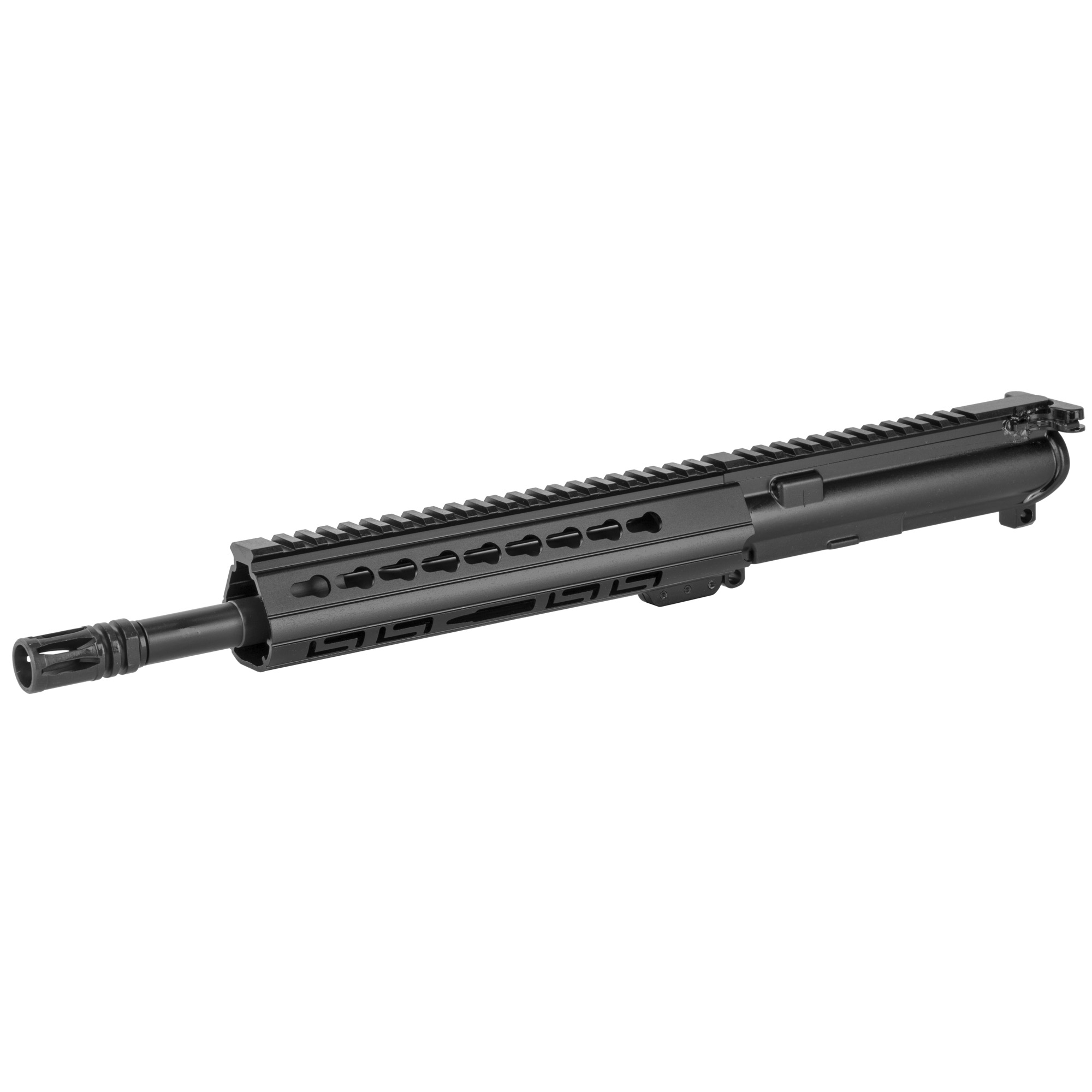 "The Luth-AR 11.5"" Lightweight Complete Upper Barrel Assembly starts with a Luth-AR 11.5"""" 5.56mm Lightweight barrel made from 4150 Chrome Molly with a 1-9"" twist mated to a Luth-AR A3 Flattop receiver which includes a Luth-AR bolt carrier"" charging handle"" forward assist and ejection port cover. The upper is then topped off with a Luth-AR lo-profile gas system and the Luth-AR ergonomic 9"" Palm Handguard(R) with KeyMod slots and a Picatinny top-rail."