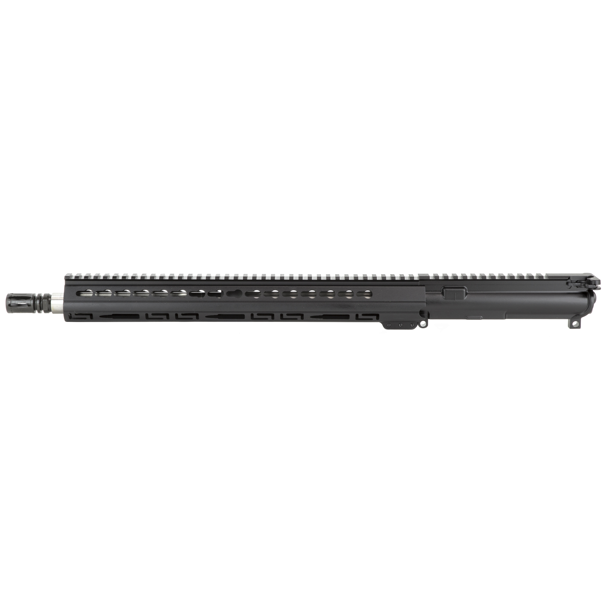 "The Luth-AR 16"" Fluted Bull Barrel Complete Upper Barrel Assembly Starts with a 16"""" .223 caliber fluted bull barrel made from 416 SST with a 1-9"" twist mated to our A3 Flattop receiver which includes a bolt carrier"" charging handle"" forward assist and ejection port cover. The upper is then topped off with a lo-profile gas system and an ergonomic 15"" Palm Handguard(R) with KeyMod slots and a Picatinny top-rail."