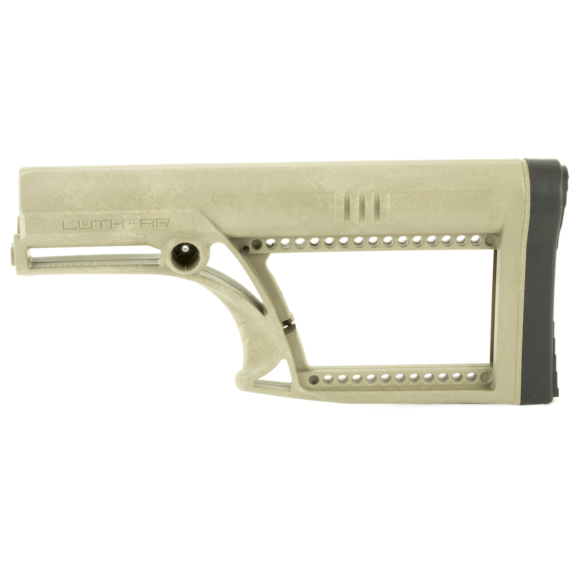 "Luth-AR's MBA-2 Skullaton Fixed Rifle Stock is made to mount to an AR-15 & AR-10 rifle length A2 Round Standard Buffer Tube. It is constructed of super strong glass filled nylon and incorporates a castle nut and lock ring in the design. It fits all .223 and most .308 AR style rifles. It is ergonomic"" easy to replace and easy to install."