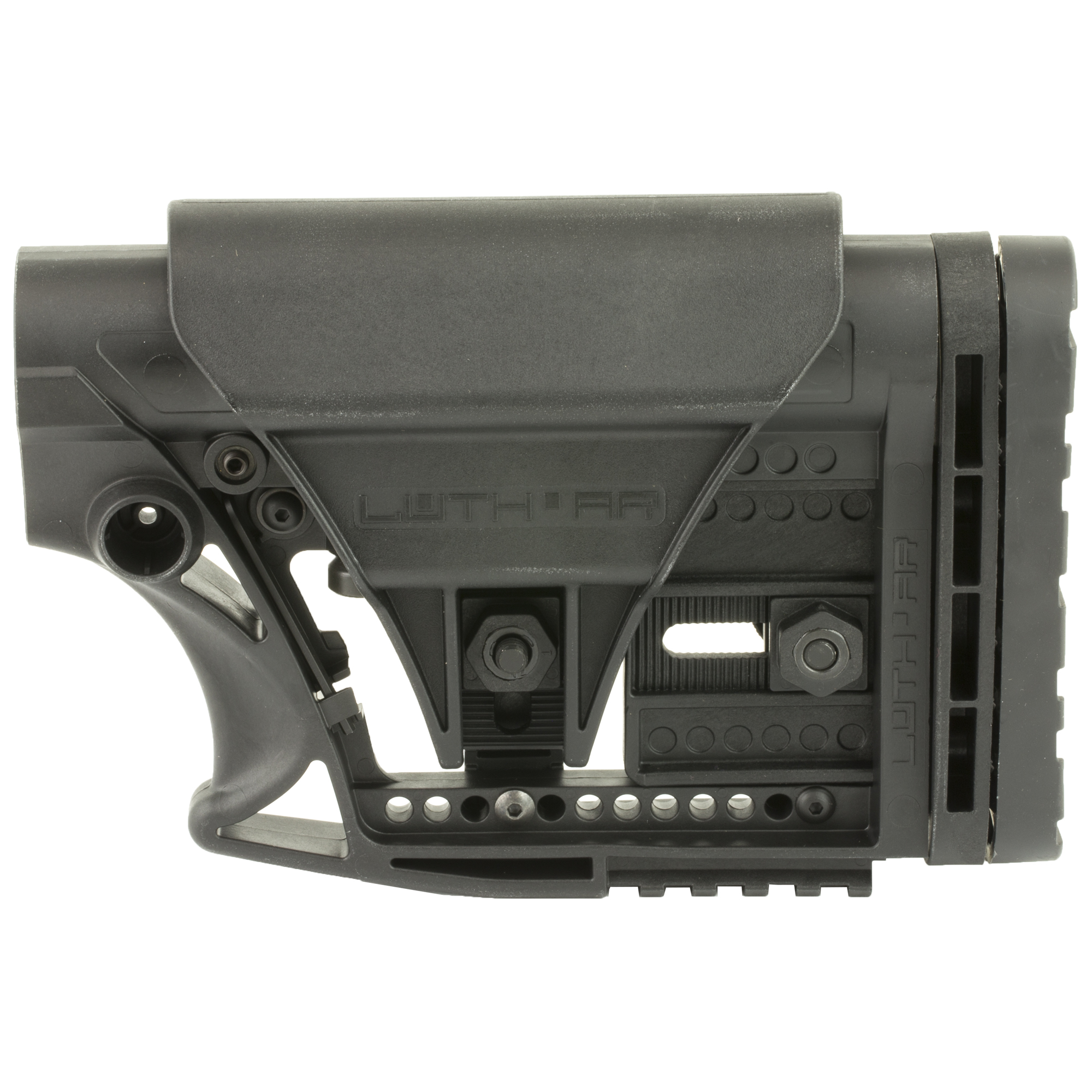 "Luth-AR's MBA-3 Fully Adjustable Carbine Stock Assembly Fits AR-15 & AR-10 Commercial and Mil-Spec Buffer Tubes. It has a 3-axis adjustable butt plate"" a picatinny rail on the bottom rear of the stock body and an adjustable cheek piece. This fits all .223 and most .308 AR carbine style rifles. It is constructed of strong glass filled nylon and is easy to replace and quick to install."