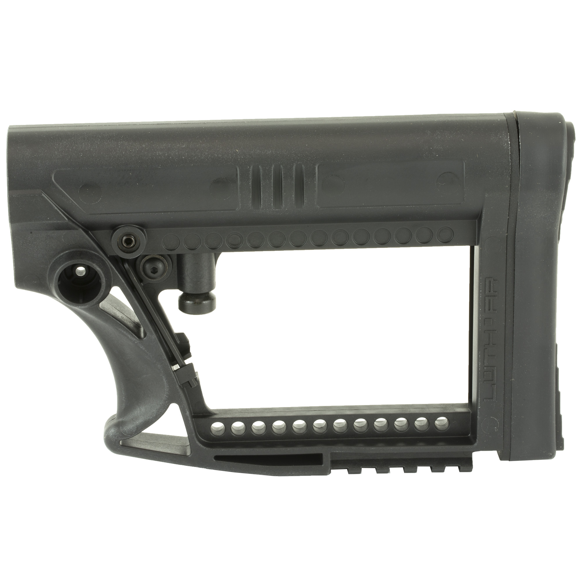 Luth-AR's MBA-4 Carbine Stock Assembly Fits AR-15 & AR-10 Commercial and Mil-Spec Buffer Tubes. It fits all .223 and most .308 AR carbine style rifles. It is a lightweight stock made with super strong glass filled nylon and is easy to replace and quick to install. Features a picatinny rail and a revolutionary anti-rattle set screw.