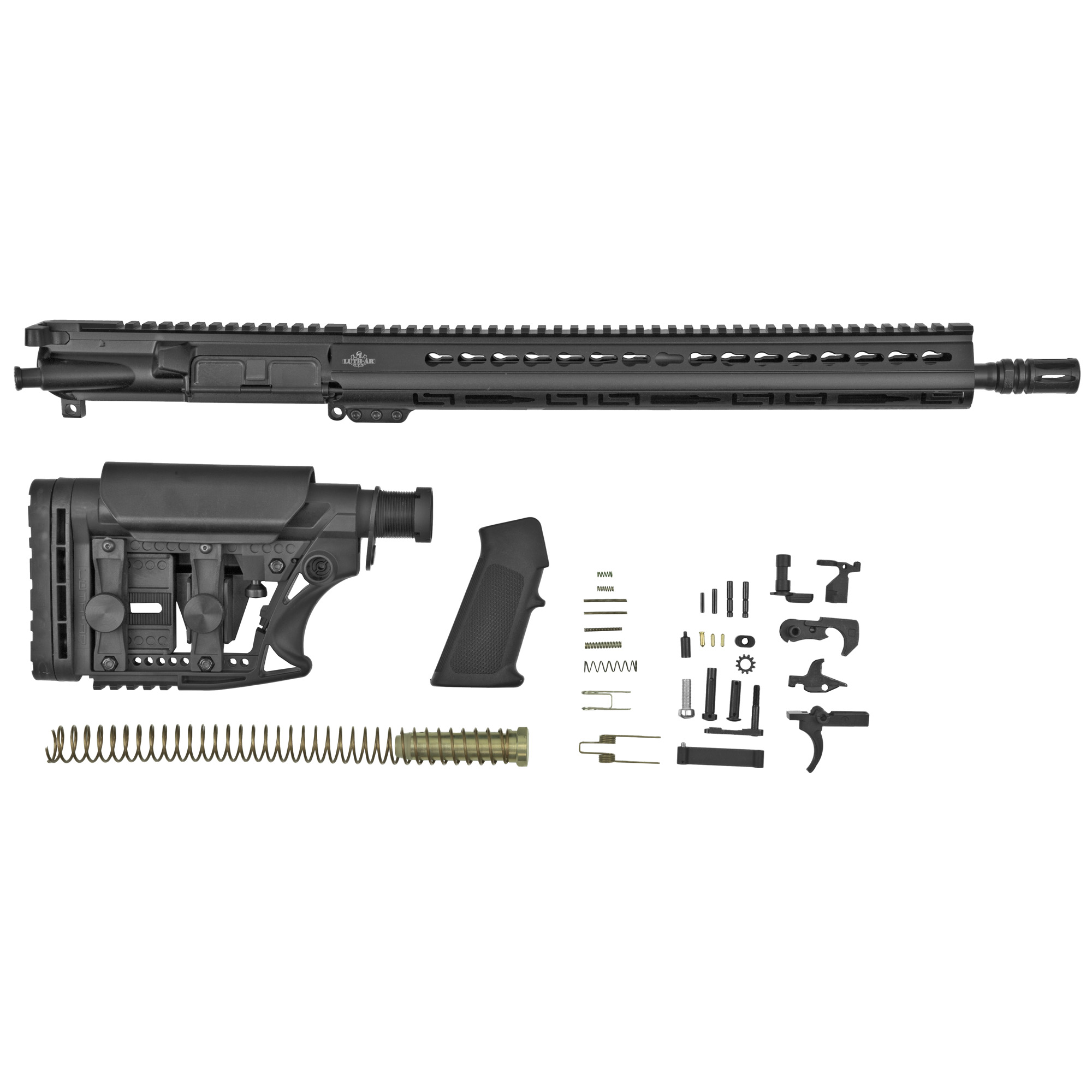 "This kit contains everything you need to build your own AR except the stripped lower receiver. The Kit Contains: Fully assembled 16"" .223 Rem Fluted Bull Barrel Upper with 15"" Keymod Palm Handguard(R)"" MBA-3 Adjustable Carbine Buttstock Assembly"" Complete Lower Parts Kit. This Kit does not come with the lower receiver. You will have to supply a lower receiver purchased elsewhere. A Milspec lower is recommended."