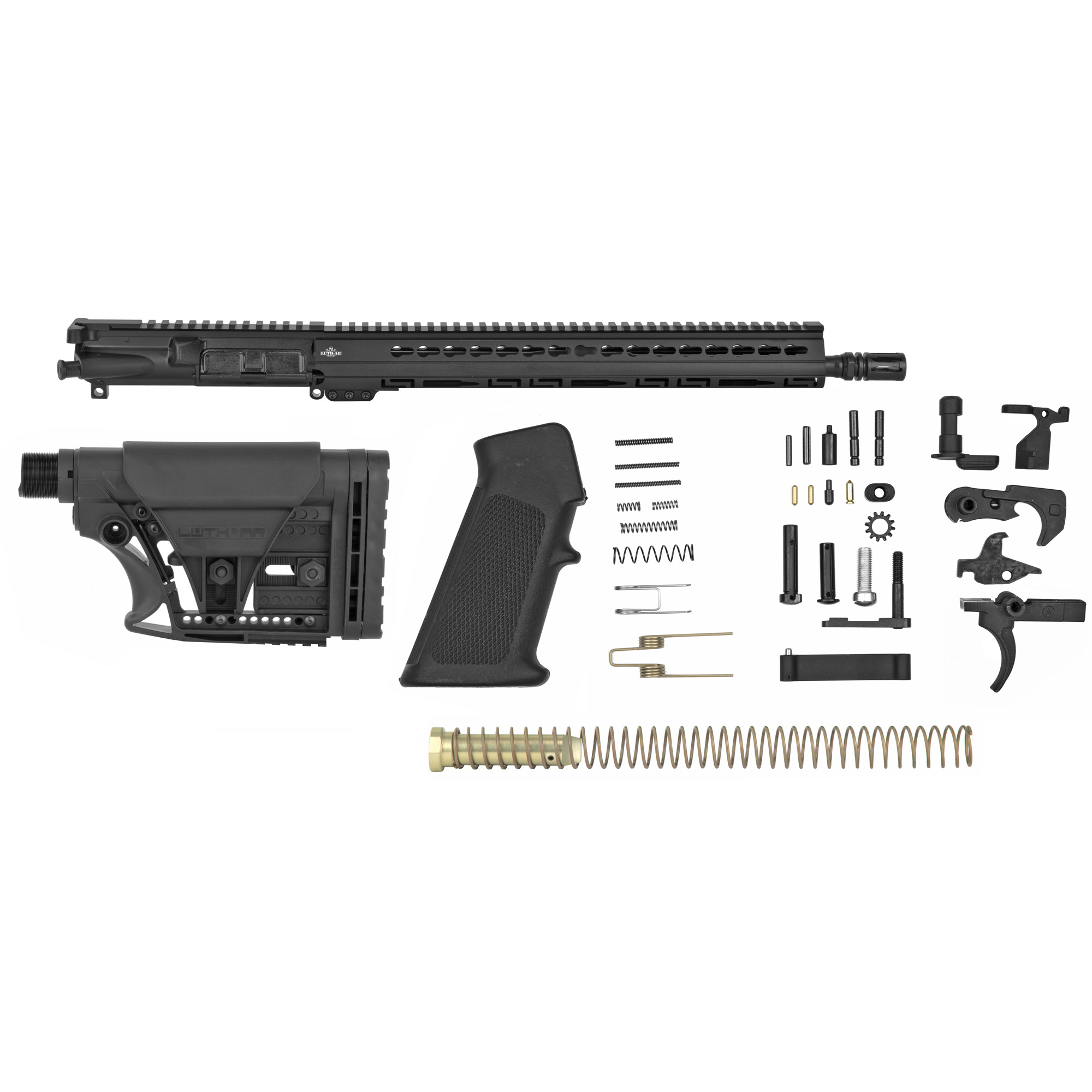 "This kit contains everything you need to build your own AR except the stripped lower receiver. The Kit Contains: Fully assembled 16"" Lightweight 5.56 mm Barrel Upper with 15"" Keymod Palm Handguard(R)"" MBA-3 Adjustable Carbine Buttstock Assembly (Black)"" Complete Lower Parts Kit"