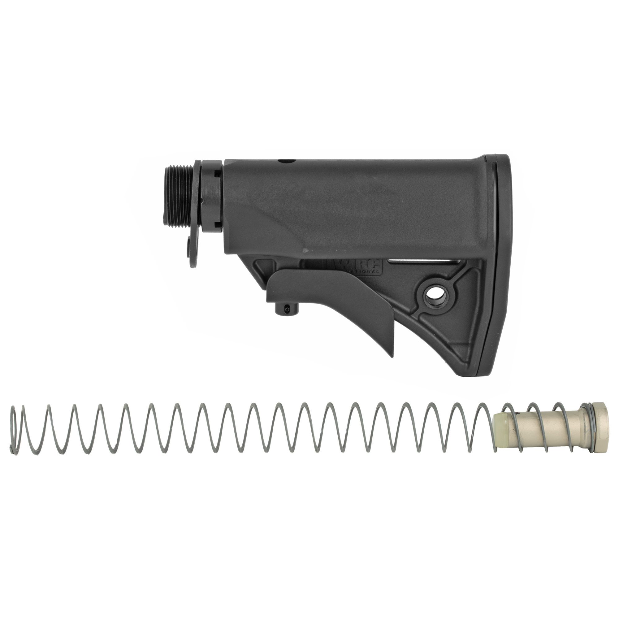 "THE LWRC UCIW (ULTRA-COMPACT INDIVIDUAL WEAPON) STOCK SYSTEM SHORTENS THE OVERALL LENGTH OF THE FIREARM BY A FULL INCH"" AS COMPARED TO A STANDARD AR. THE STOCK KIT INCLUDES THE STOCK"" RECEIVER EXTENSION"" INDEX PLATE"" BUFFER"" RECOIL SPRING AND CASTLE NUT. THE SYSTEM'S COMPONENTS WERE DESIGNED TO WORK TOGETHER AND SHOULD BE INSTALLED TOGETHER FOR RELIABLE PERFORMANCE. THE STOCK IS LIGHTWEIGHT AND FEATURES INTEGRAL SLING ATTACHMENT POINTS"" EASY ONE-HAND ADJUSTMENTS AND EXCELLENT CHEEKWELD. THE RUBBER BUTTPAD PREVENTS SLIPPAGE DURING FIRING. THE RECEIVER EXTENSION HAS FOUR POSITIONS TO ADJUST THE LENGTH OF PULL. DERIVED FROM OUR UCIW PROJECT"" IT IS A GREAT OPTION FOR SHORTENING THE OVERALL LENGTH OF YOUR RIFLE."