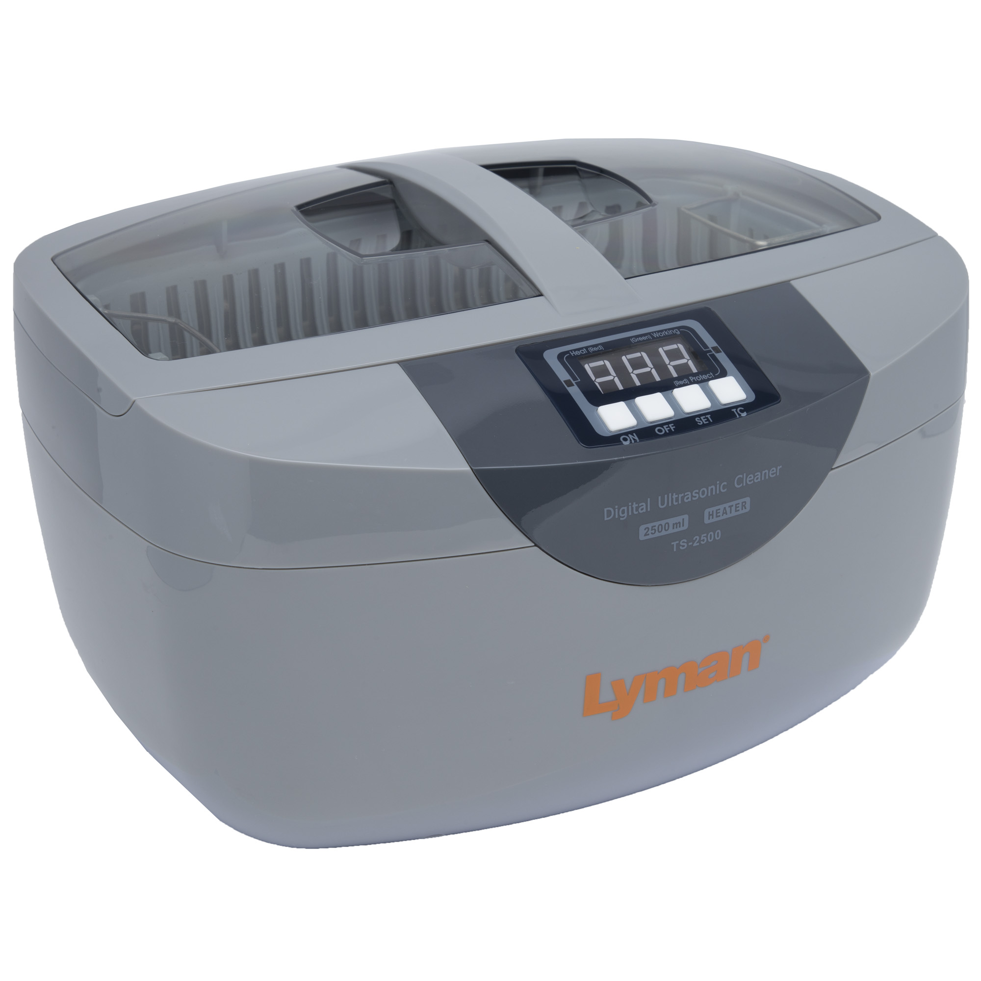 """Lyman's Turbo Sonic delivers ultrasonic gun cleaning that allows the reloader to clean cases inside and out in less than 10 minutes. The heated tank and Lyman's specially formulated case cleaning solution deliver superior case cleaning of case and primer pockets. The ultrasonic cavitation lifts and dissolves carbon"""" dirt and any residue left on fired cases."""