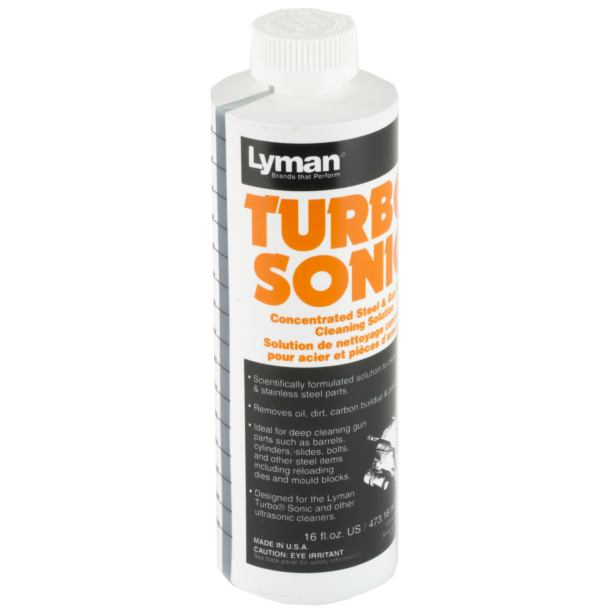 Cleaning with ultrasonics requires the correct solution for the correct cleaning application. Lyman has partnered with a renowned chemical research team to develop the right solutions for use with today's Ultrasonic Cleaners. Gun parts solution is the perfect choice for steel and stainless steel parts.