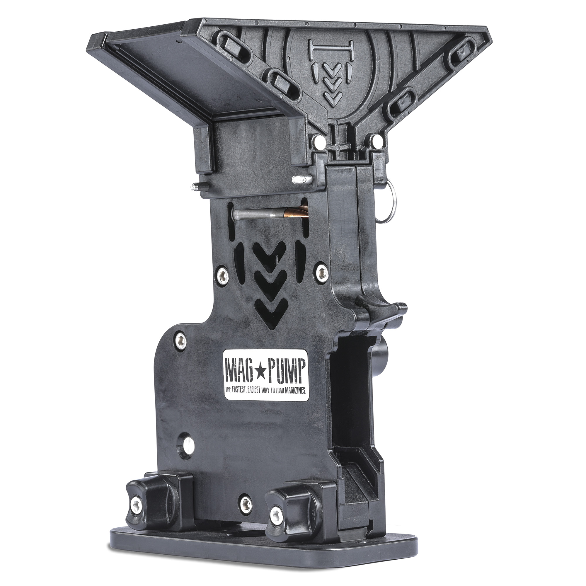 """This hopper-fed"""" loose-ammo loader eliminates hand fatigue and reduces magazine loading time by more than 50 percent. Simply load your ammo in the 65-round capacity hopper and let MagPump do the rest. The pump-action lever self-sorts ammunition in either direction"""" and loads up to 60 rounds in less than 60 seconds. Compatible with 7.62 x 39 mm cartridges."""