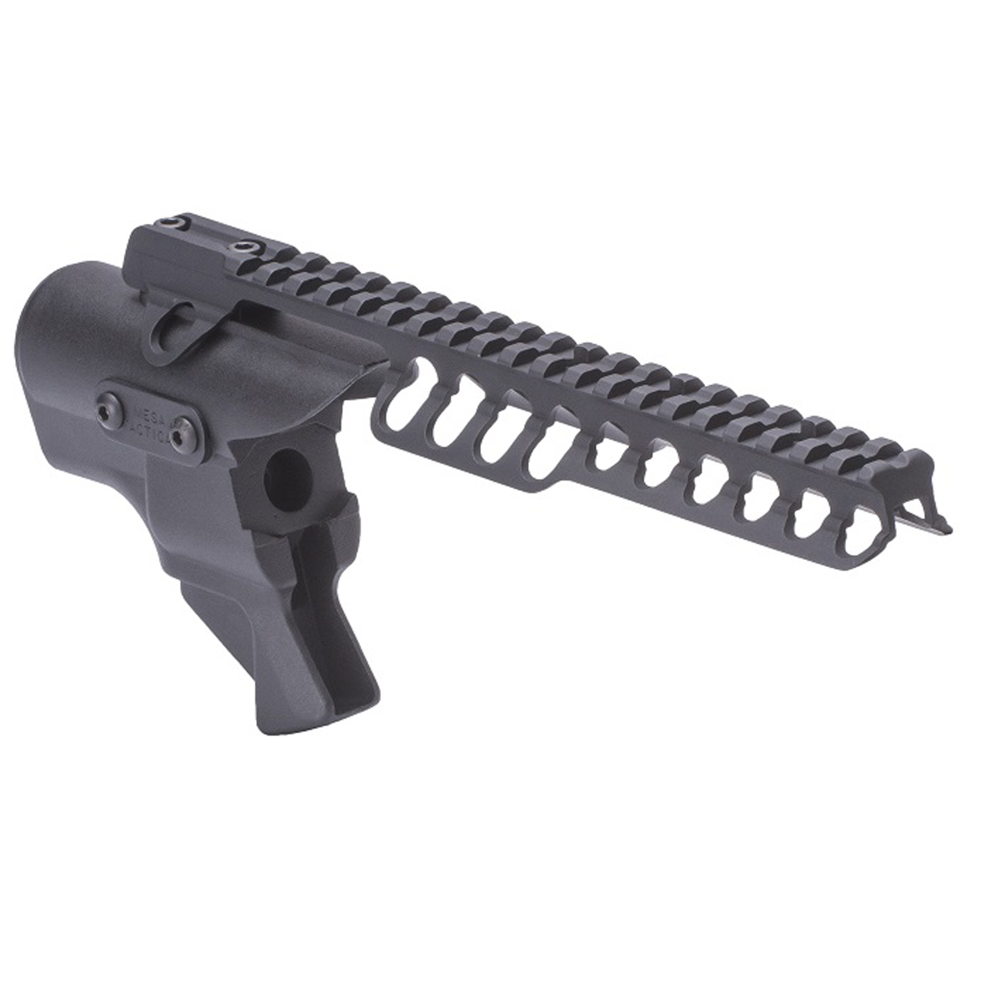 High-tube adapters have a comb height equivalent to an AR-15 and require an optics rail (included). These specialized adapters are for certain law enforcement applications or competition. High tube adapters allow proper cheek weld and eye alignment with popular optics such as an ACOG or Leupold CQT and others.