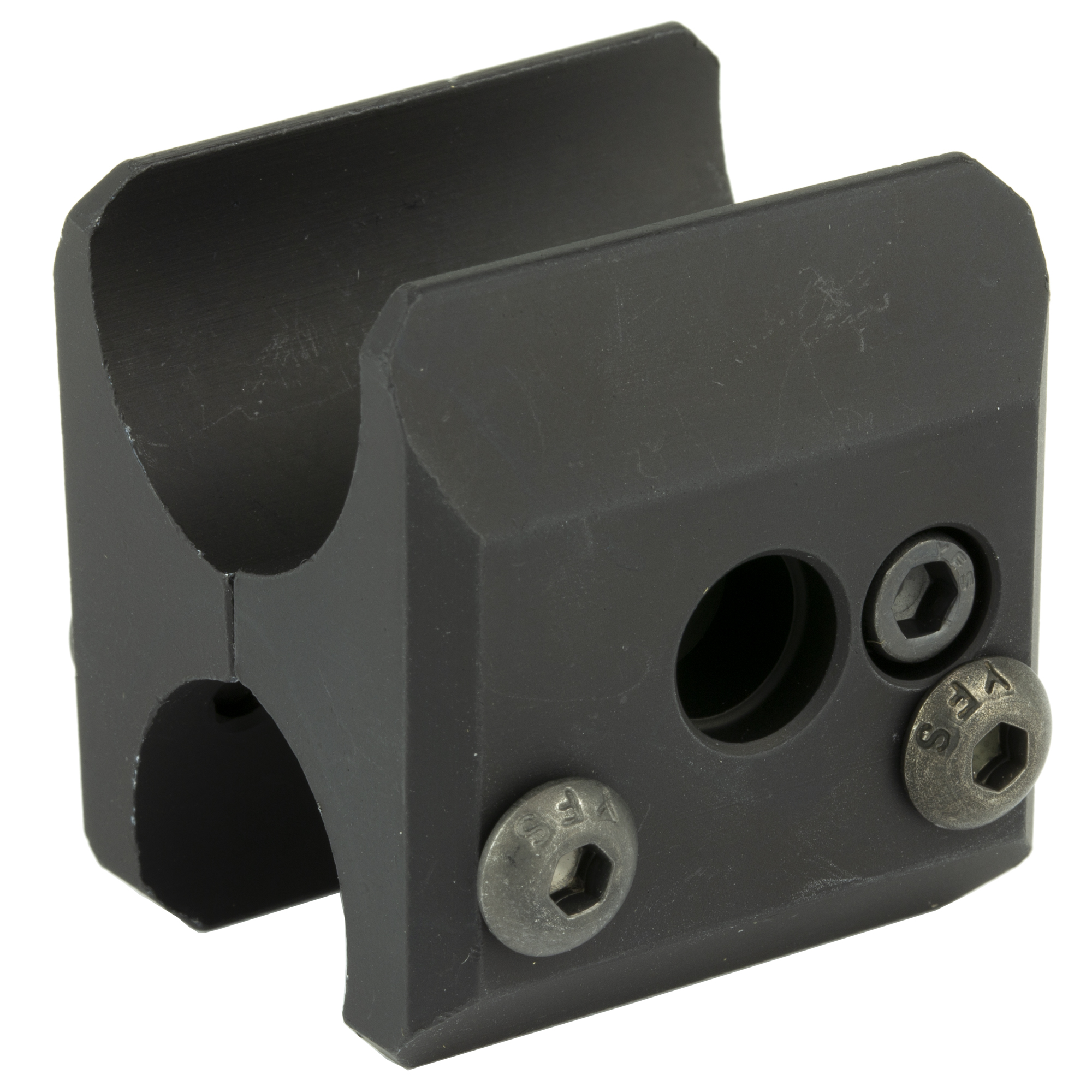 """The magazine clamp can be used to more securely retain aftermarket or factory magazine extensions"""" while at the same time offering flexible mounting options near the shotgun muzzle. This clamp accepts a push-button quick release sling swivel."""