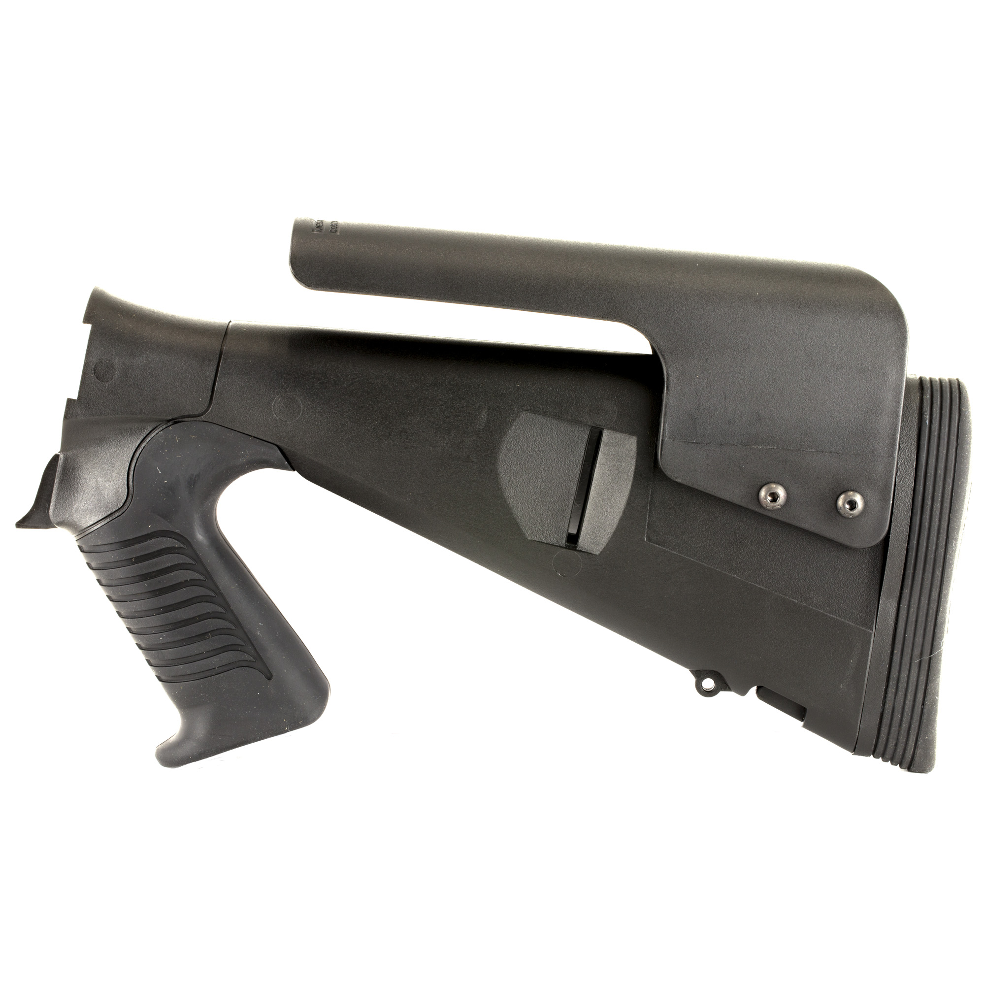 """Mesa Tactical's Urbino Pistol Grip Stock for the Benelli M4 is very popular in the law enforcement market due to the shorter length of pull"""" allowing the user to wear body armor or bulky clothing without extending their reach. The reduced length-of-pull (LoP) makes the Urbino the first truly tactical stock for the Benelli M4. The Urbino Tactical stock is durable"""" easy to shoulder and will not slip. It is a fixed-length pistol grip shotgun stock made from injection-molded glass-filled nylon. Developed to meet the needs of law enforcement and military operators"""" the rugged Urbino Tactical stock features a 12 1/2"""" inch LoP"""" soft urethane rubber grip"""" adjustable cheek riser and Limbsaver Butt pad."""