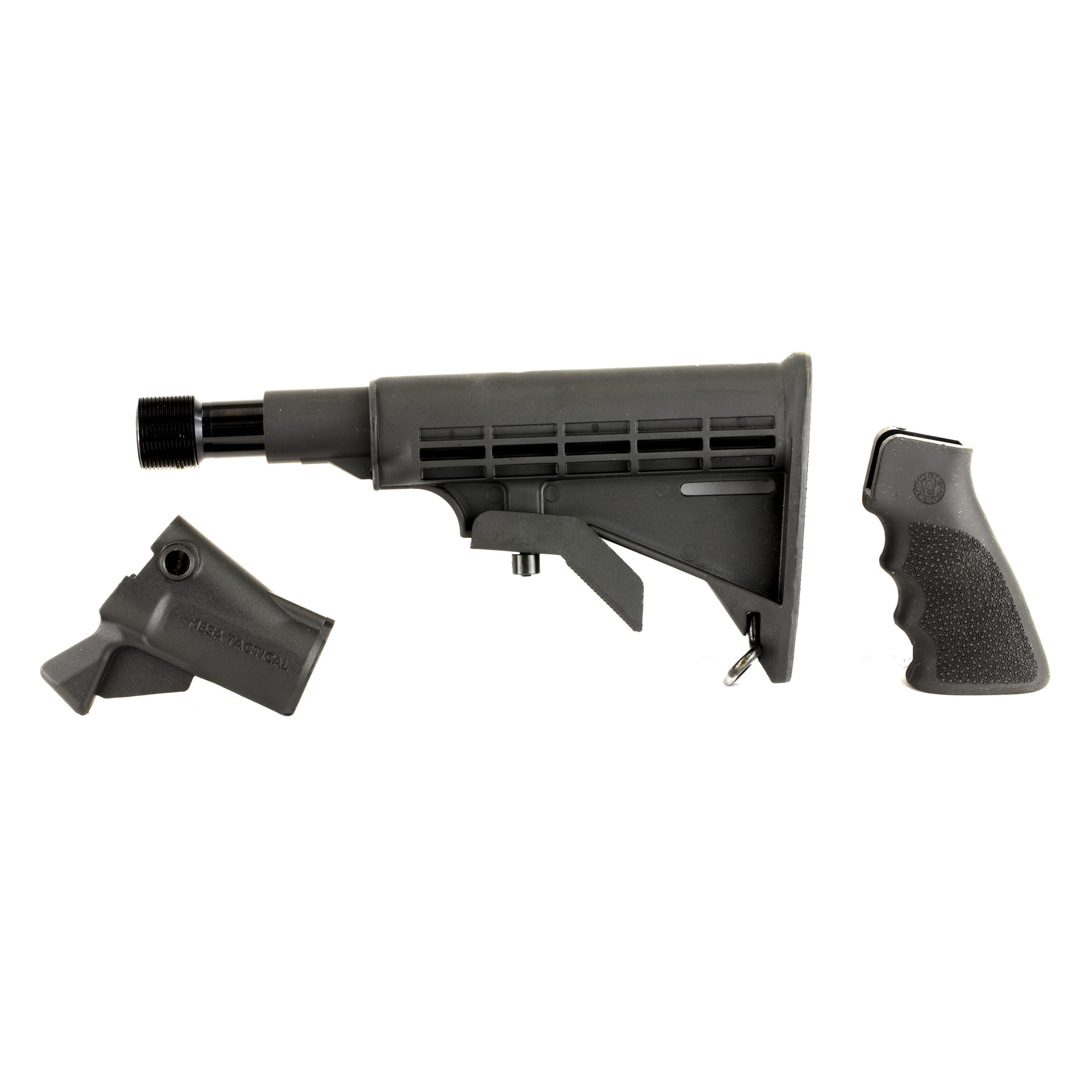"""Mesa Tactical's LEO Telescoping Recoil Stock Kit for Remington 870 (12-GA) is the perfect kit for anyone looking to convert their 12-gauge shotgun to accept AR-15 parts and accessories. This adapter provides you with the ability to utilize AR-15 pistol grips"""" carbine receiver extensions and stocks. The LEO adapter will provide you with an optimal stock elevation allowing the use of iron sights or bead sights. The adapter also features a quick detach sling swivel socket and is made from high quality"""" precision"""" CNC machined aluminum. This kit also includes the Hydraulic recoil buffer designed to eat up the recoil on your defensive shotgun. Installation hardware is included. The adapter is easy to install and does not require a gunsmith to install."""
