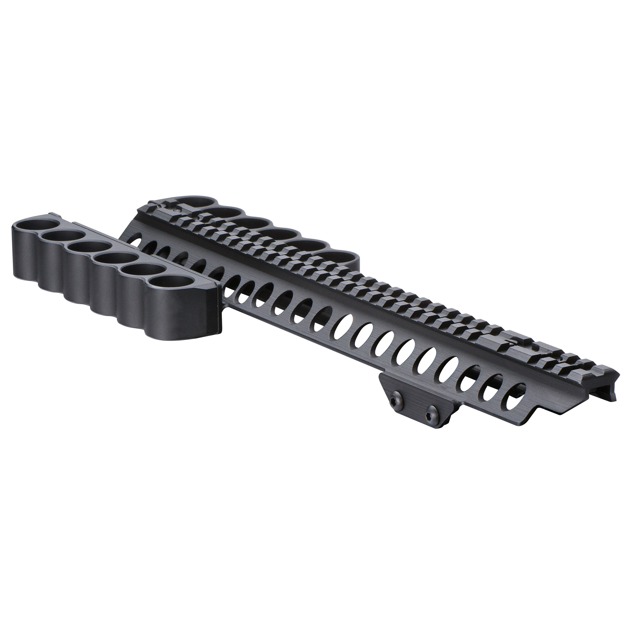 SureShell Aluminum Shotshell Carriers with Rail are machined from 6061-T6 aluminum and use Mesa Tactical's innovative rubber friction retention system to firmly and reliable hold shells in place until needed.