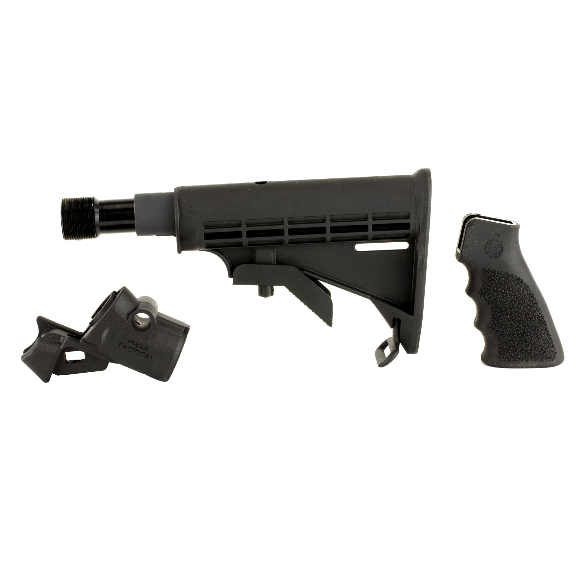 """Mesa Tactical's LEO Telescoping Recoil Stock Kit for Mossberg 500/590 is the perfect kit for anyone looking to convert their 12-gauge shotgun to accept AR-15 parts and accessories. This adapter provides you with the ability to utilize AR-15 pistol grips"""" carbine receiver extensions and stocks. The LEO adapter will provide you with an optimal stock elevation allowing the use of iron sights or bead sights. The adapter also features a quick detach sling swivel socket and is made from high quality"""" precision"""" CNC machined aluminum. This kit also includes the Hydraulic recoil buffer designed to eat up the recoil on your defensive shotgun. The adapter is easy to install and does not require a gunsmith to install."""
