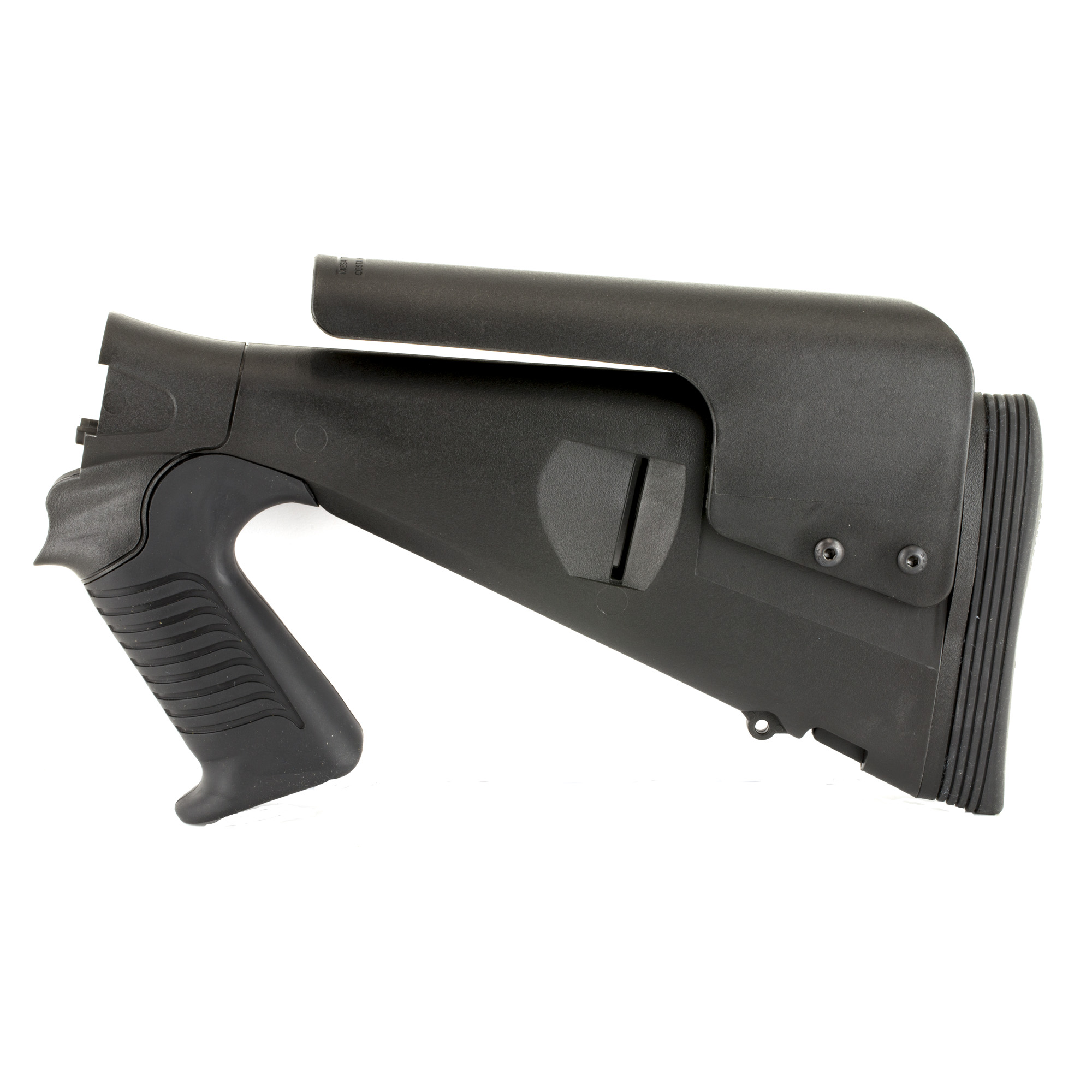 """Mesa Tactical's Urbino Pistol Grip Stock for the Beretta 1301 12 Gauge is very popular in the law enforcement market due to the shorter length of pull"""" allowing the user to wear body armor or bulky clothing without extending their reach. The reduced length-of-pull (LoP) makes the Urbino the first truly tactical stock for the Beretta 1301. The Urbino Tactical stock is durable"""" easy to shoulder and will not slip. It is a fixed-length pistol grip shotgun stock made from injection-molded glass-filled nylon. Developed to meet the needs of law enforcement and military operators"""" the rugged Urbino Tactical stock features a 12 1/2"""" inch LoP"""" soft urethane rubber grip"""" adjustable cheek riser and Limbsaver Butt pad."""