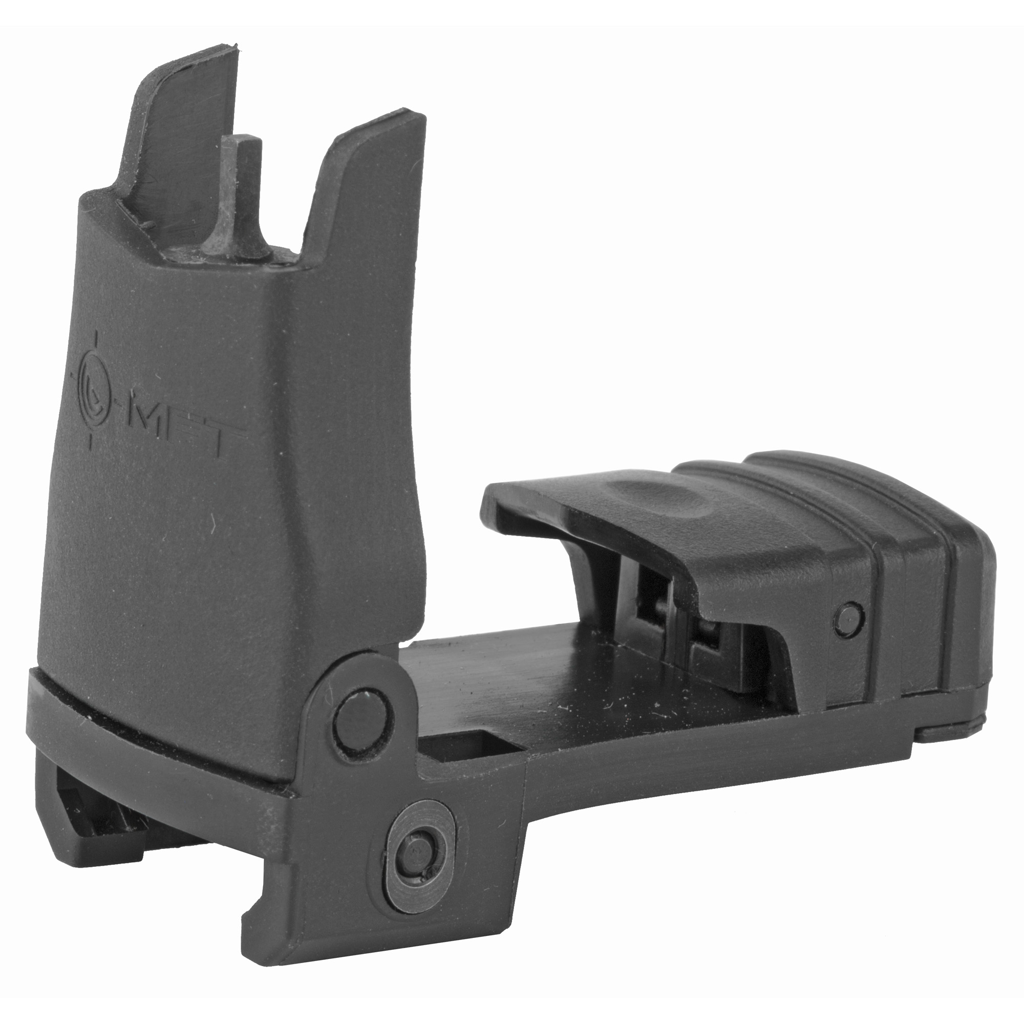 """This backup sight from Mission First Tactical mounts onto a Mil-Std 1913 Picatinny rail and accepts any standard front sight post. A standard sight tool is required to adjust"""" with each click equaling 1/4 MOA. The sight folds to the rear"""" the correct direction in case the rifle is dropped. When folded the sight post is shrouded and protected from dust and debris. The sight has a slim profile"""" allowing it to sit below most optics."""