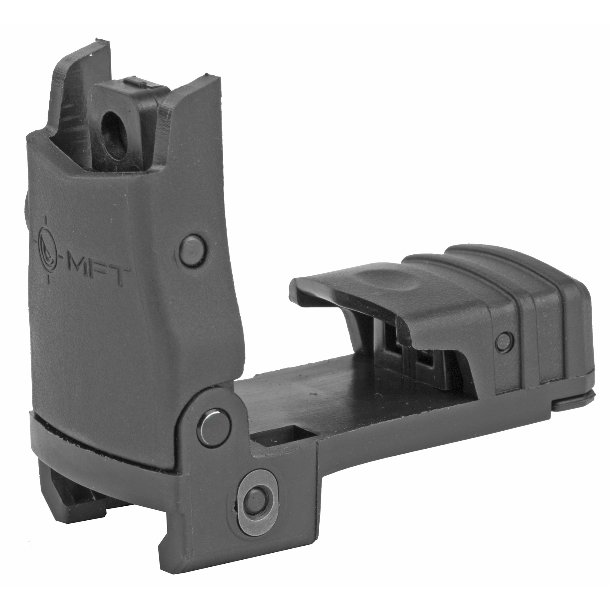 This Back Up Polymer Flip Up Rear Sight from MFT is a great addition to any AR sighting system. It mounts to any standard 1913 Mil-Spec Picatinny Rail and is adjustable for windage. When folded down and not in use it's shrouded and sheltered to protect the apertures from debris and impact. It has a slim no snag low profile. Dual peep same plane apertures are ready to give you the perfect co-witness with your reflex sight!