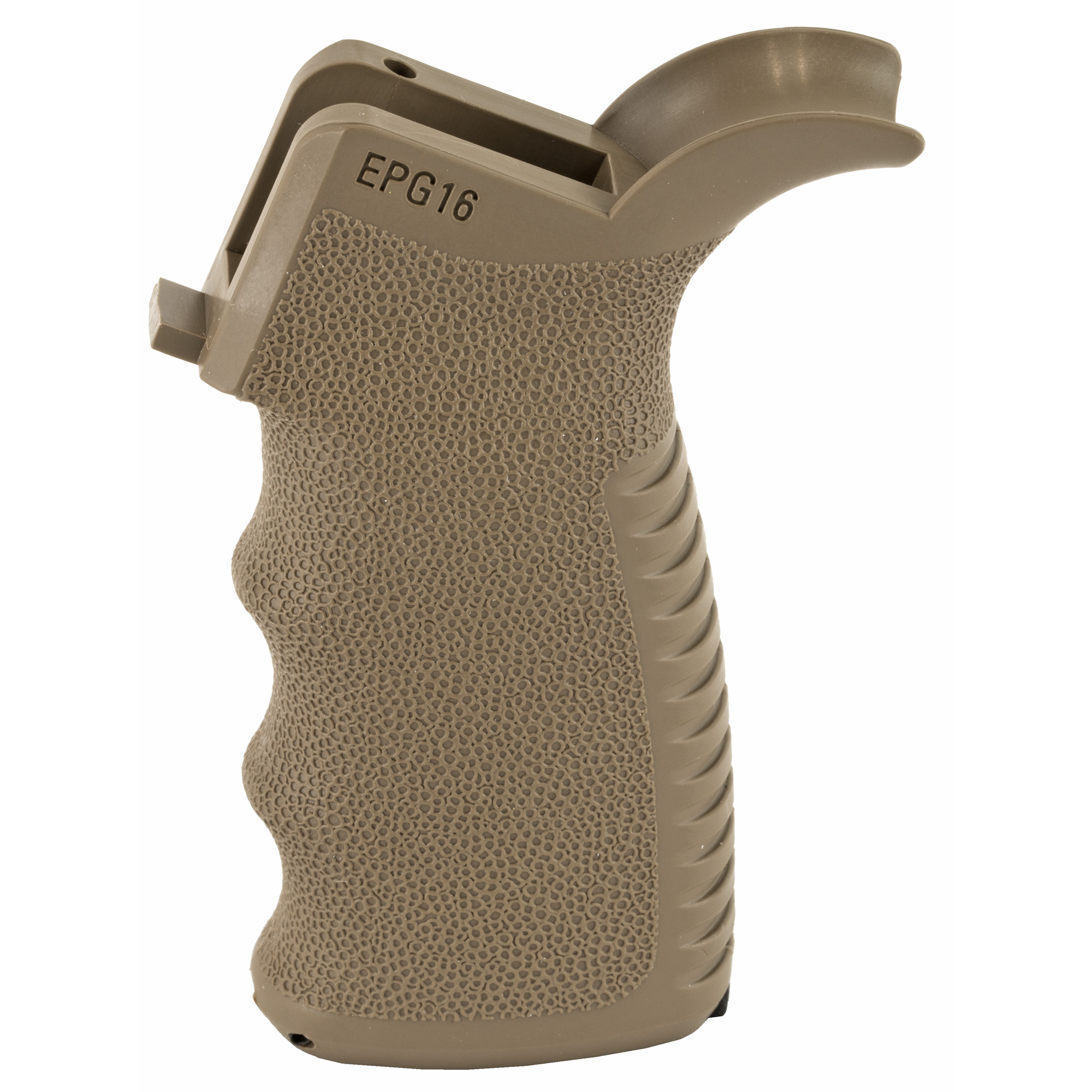 The Engage AR15/M16 pistol grip has textured finger swells and the grooved backstraps provide a positive grip surface with wet or gloved hands.