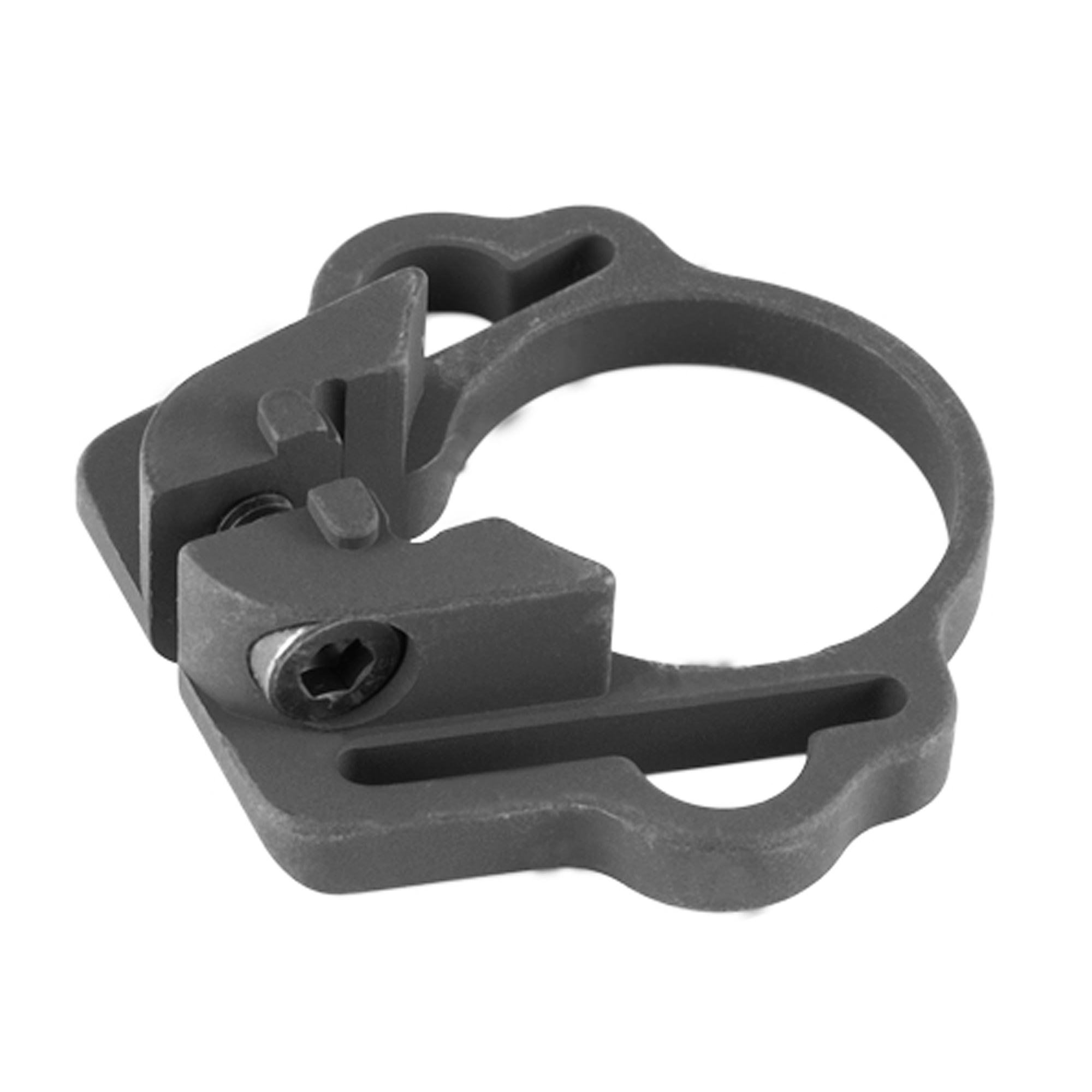 """One Point Sling Mount is a single point sling mount for snap clips or conventional slings up to 1.25"""" webbing. No tube disassembly necessary; remove collapsible buttstock"""" slide on tube"""" position properly and secure. CNC machined from aviation grade aluminum with matte black finish."""