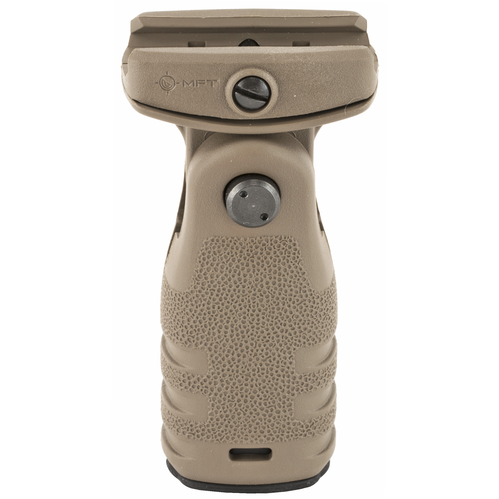 """A textured vertical grip that deploys in either a vertical or horizontal position and provides a positive grip surface. Allows the support hand to apply rearward pressure keeping the weapon shouldered"""" yielding better muzzle control and accuracy."""