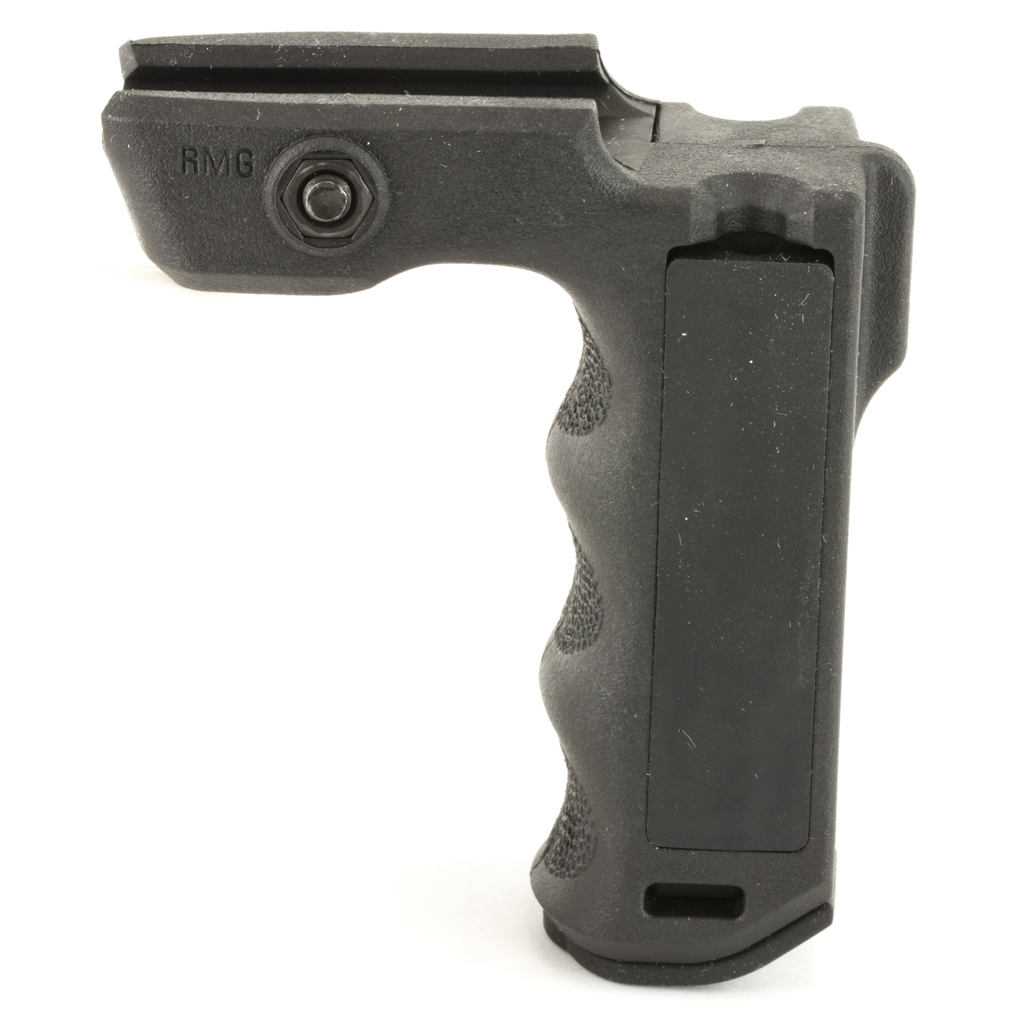 """The React Magwell Grip is a compact textured vertical grip designed for close handhold application at the low ready or CQB situations. Locates support hand forward of the magazine well to prevent injury if an overcharged round causes the ejection of the magazine. Right and left handed pressure pad wells for wired switches and spare battery storage compartment. Allows the support hand to apply rearward pressure keeping the weapon shouldered"""" yielding better muzzle control and accuracy."""